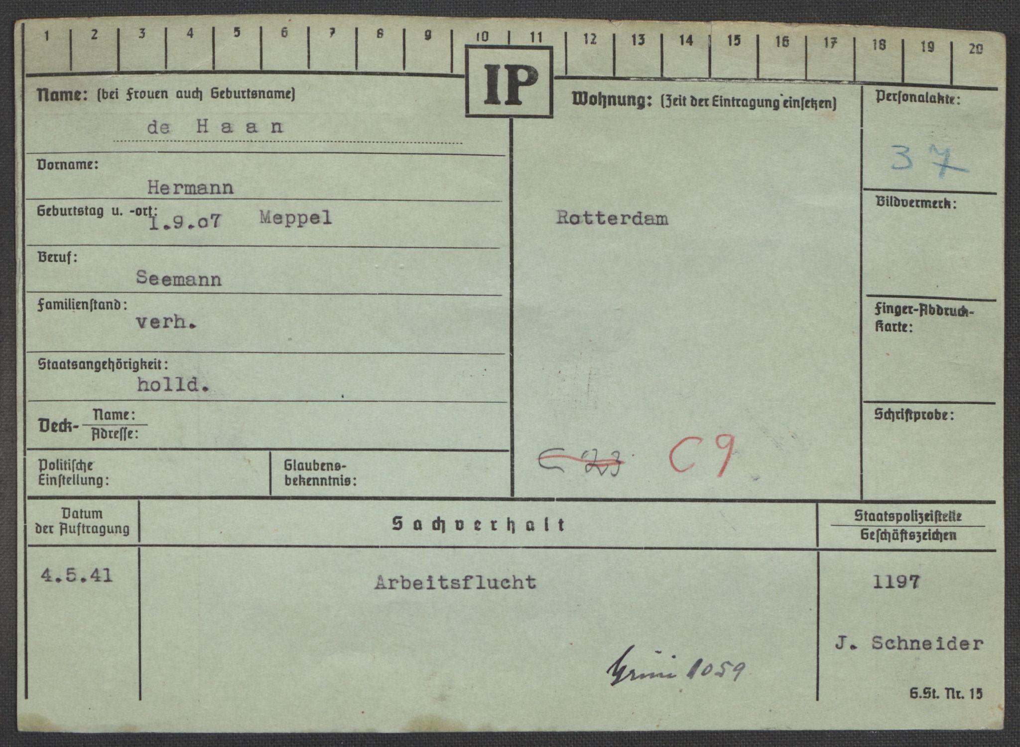 RA, Befehlshaber der Sicherheitspolizei und des SD, E/Ea/Eaa/L0003: Register over norske fanger i Møllergata 19: Eng-Hag, 1940-1945, s. 1370