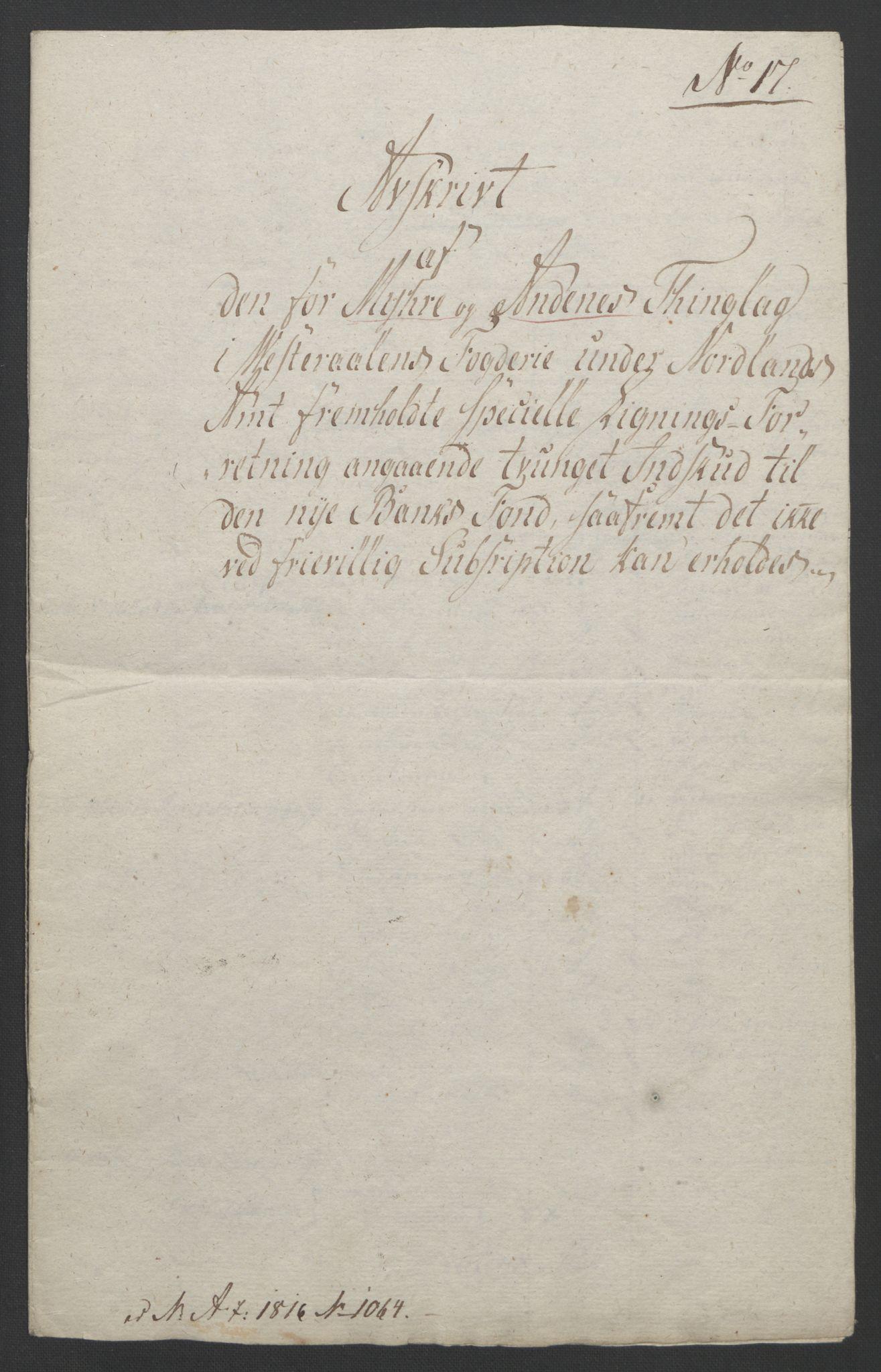 NOBA, Norges Bank/Sølvskatten 1816*, 1816-1821, s. 26
