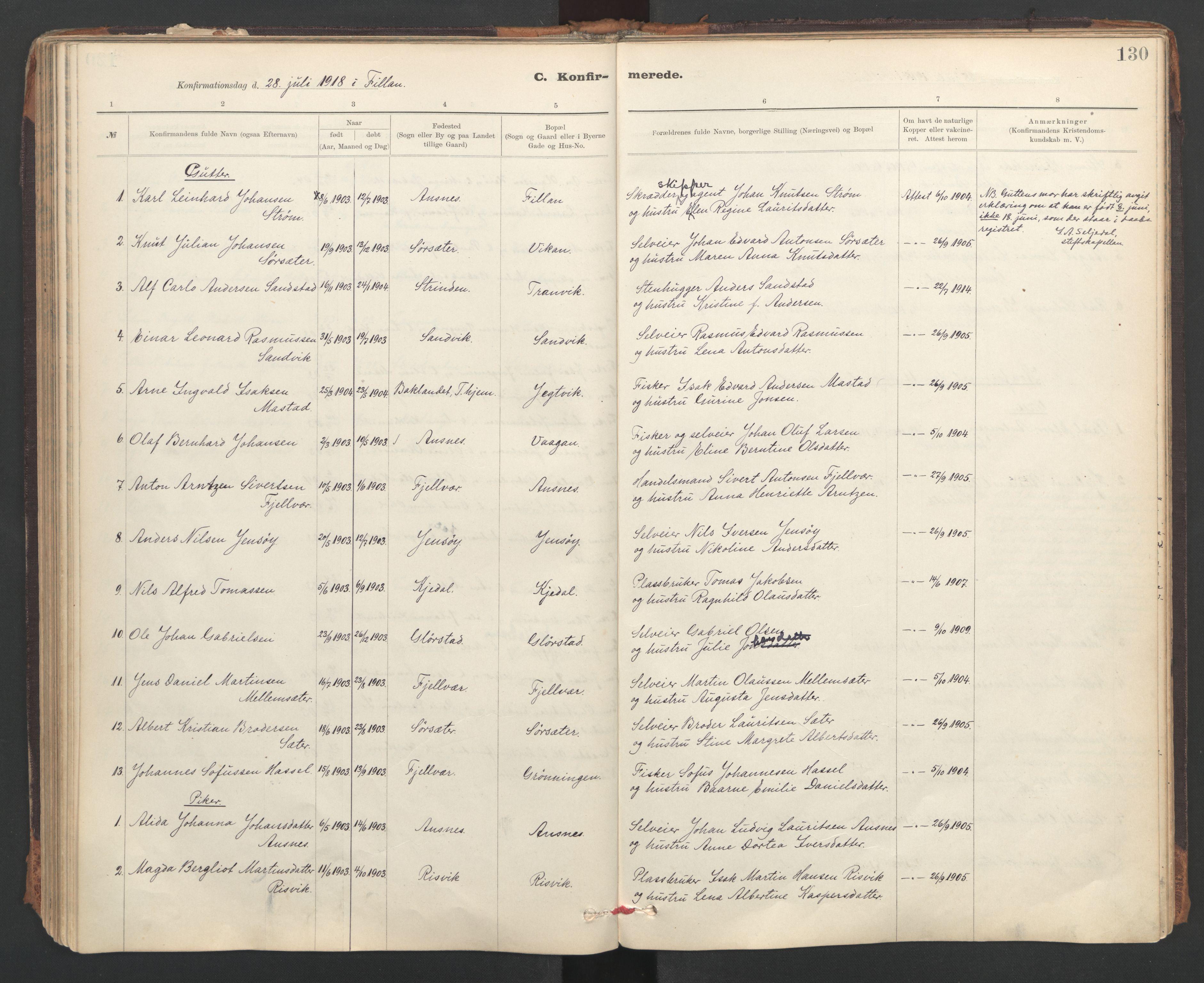 SAT, Ministerialprotokoller, klokkerbøker og fødselsregistre - Sør-Trøndelag, 637/L0559: Ministerialbok nr. 637A02, 1899-1923, s. 130