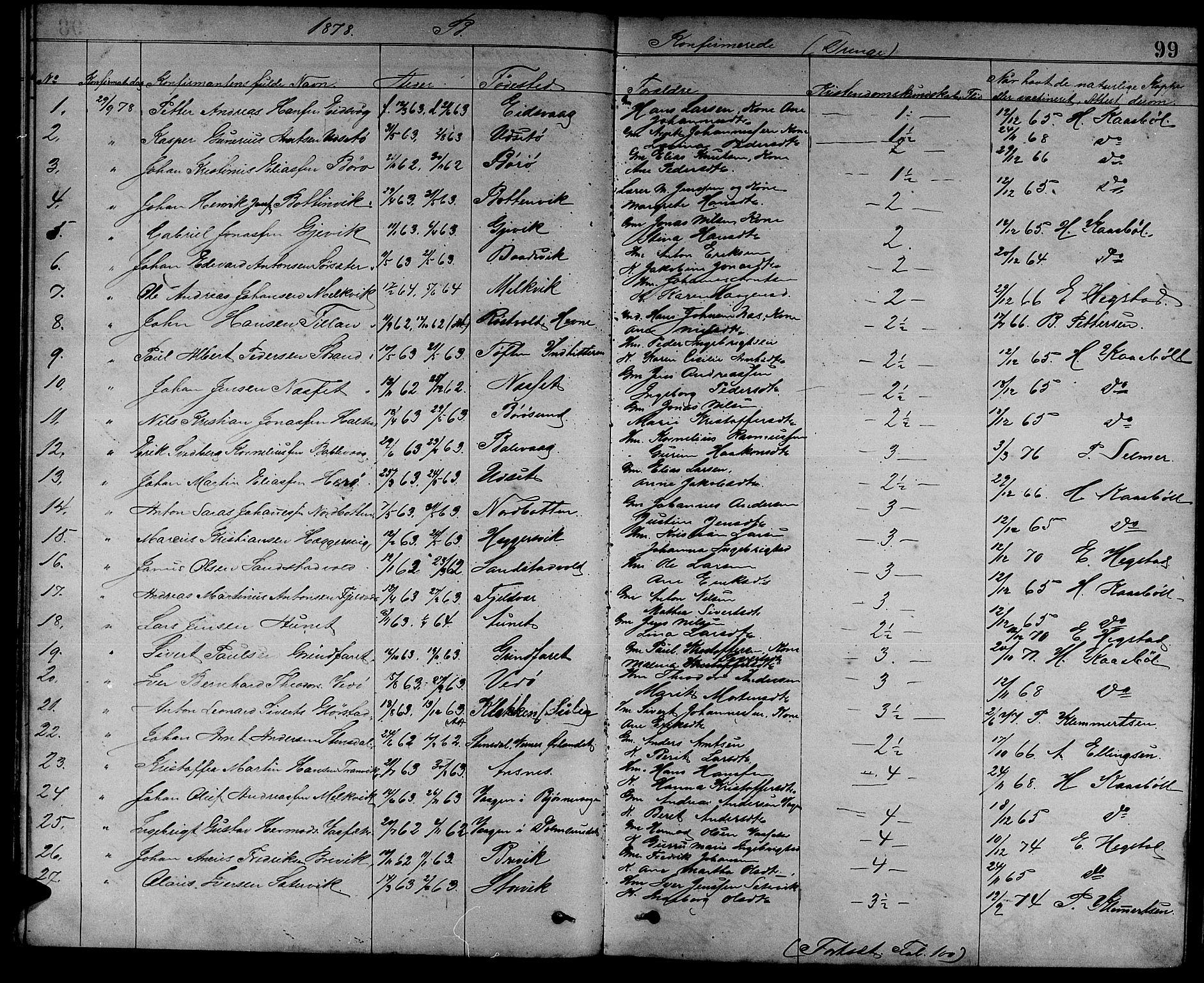 SAT, Ministerialprotokoller, klokkerbøker og fødselsregistre - Sør-Trøndelag, 637/L0561: Klokkerbok nr. 637C02, 1873-1882, s. 99