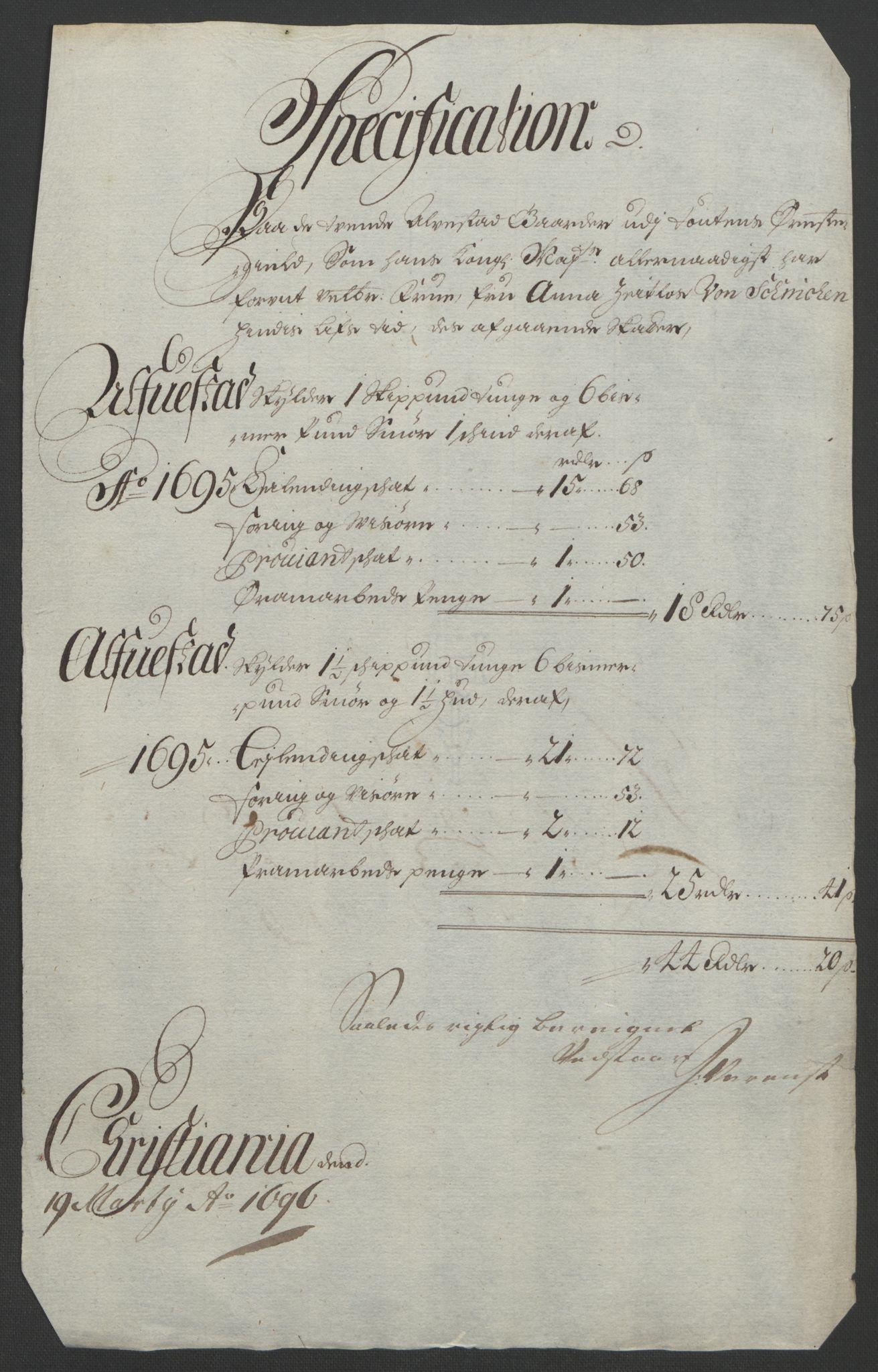 RA, Rentekammeret inntil 1814, Reviderte regnskaper, Fogderegnskap, R18/L1293: Fogderegnskap Hadeland, Toten og Valdres, 1695, s. 189