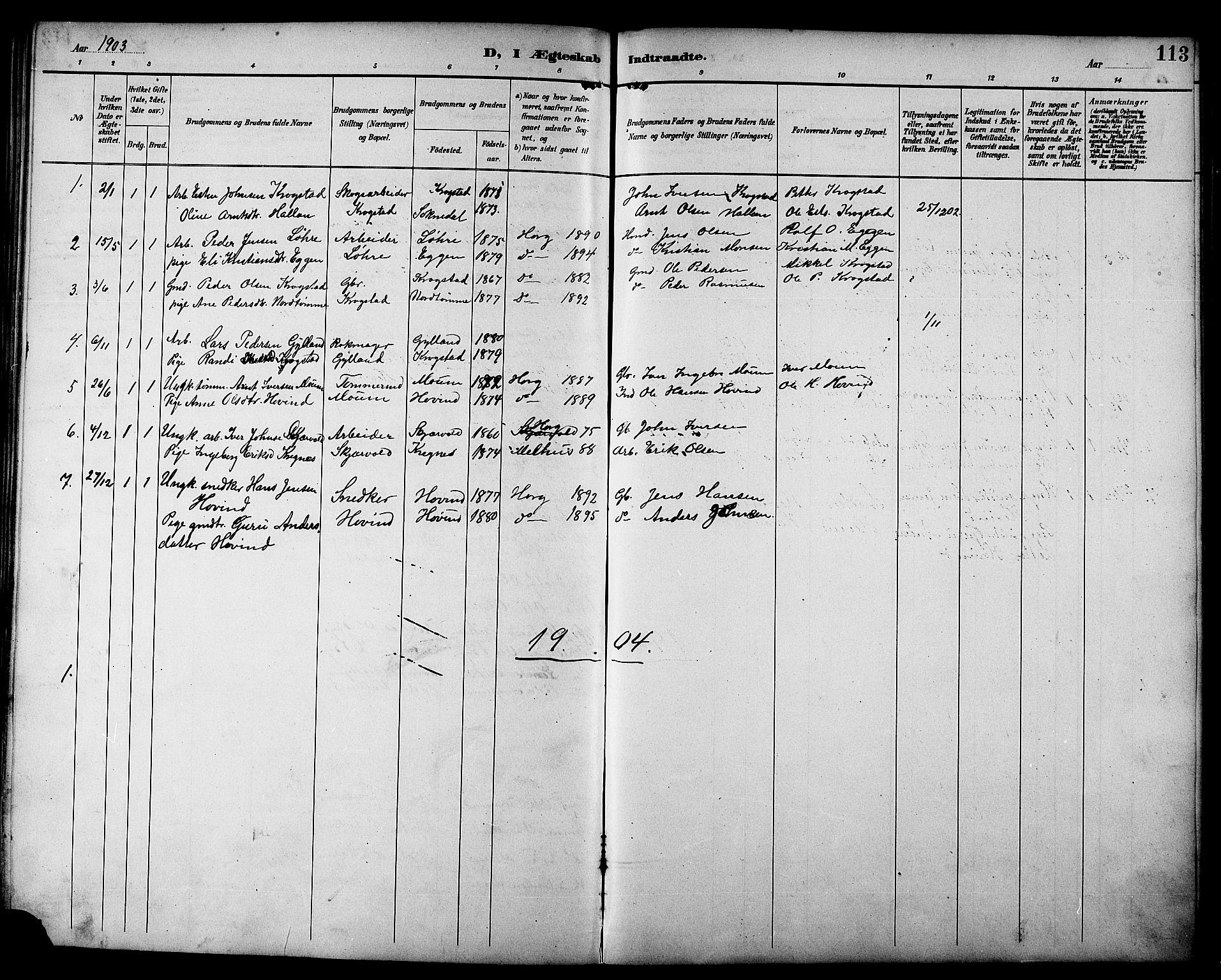 SAT, Ministerialprotokoller, klokkerbøker og fødselsregistre - Sør-Trøndelag, 692/L1111: Klokkerbok nr. 692C06, 1890-1904, s. 113