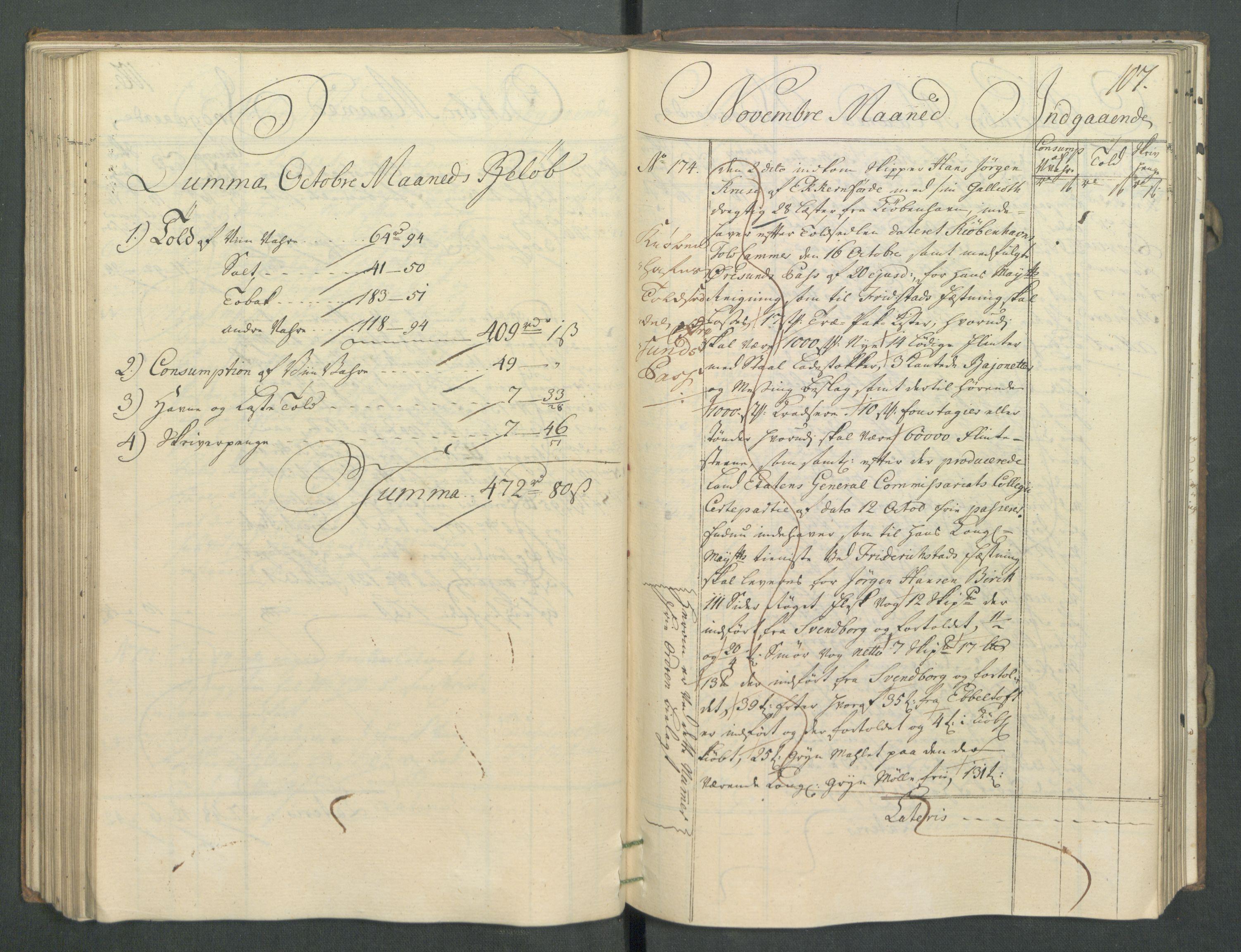 RA, Generaltollkammeret, tollregnskaper, R02/L0022: Tollregnskaper Fredrikstad, 1756, s. 106b-107a
