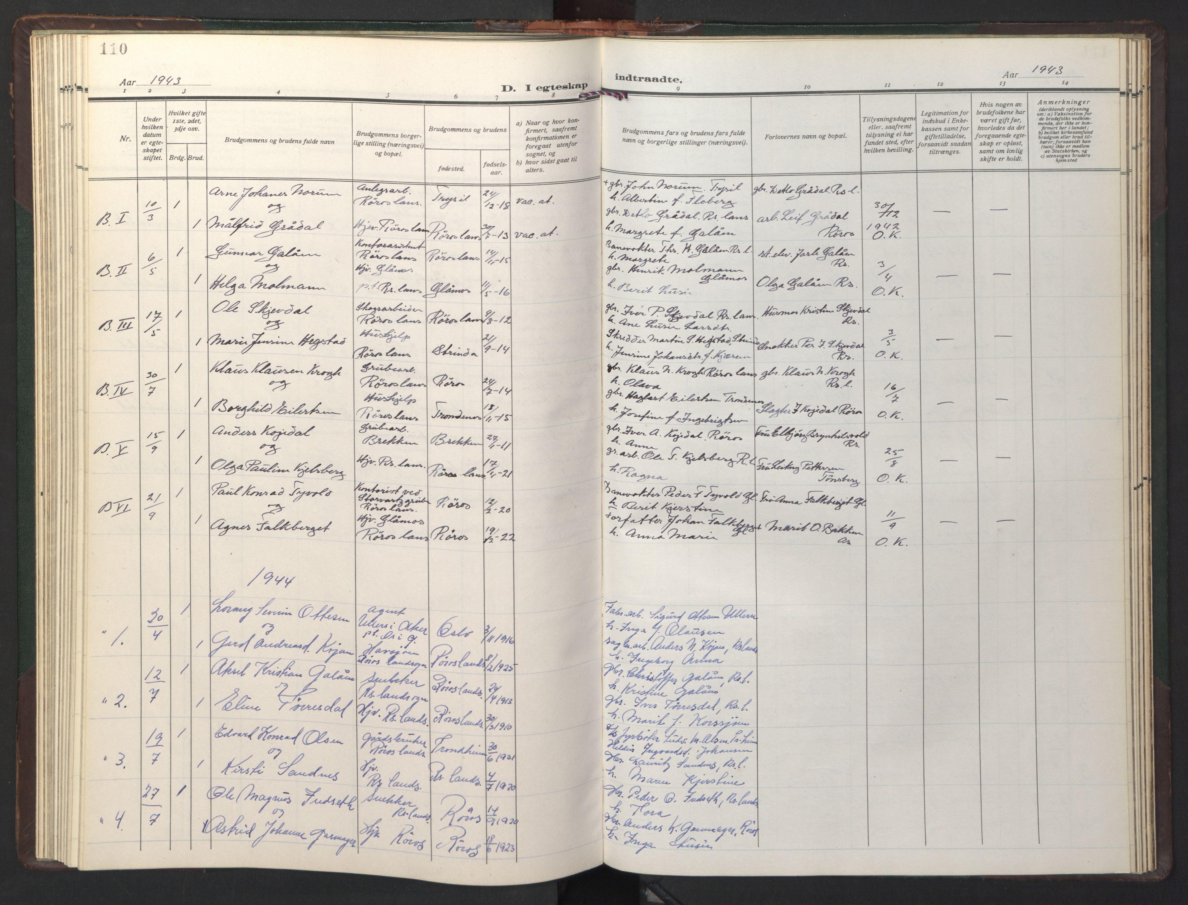 SAT, Ministerialprotokoller, klokkerbøker og fødselsregistre - Sør-Trøndelag, 681/L0944: Klokkerbok nr. 681C08, 1926-1954, s. 110
