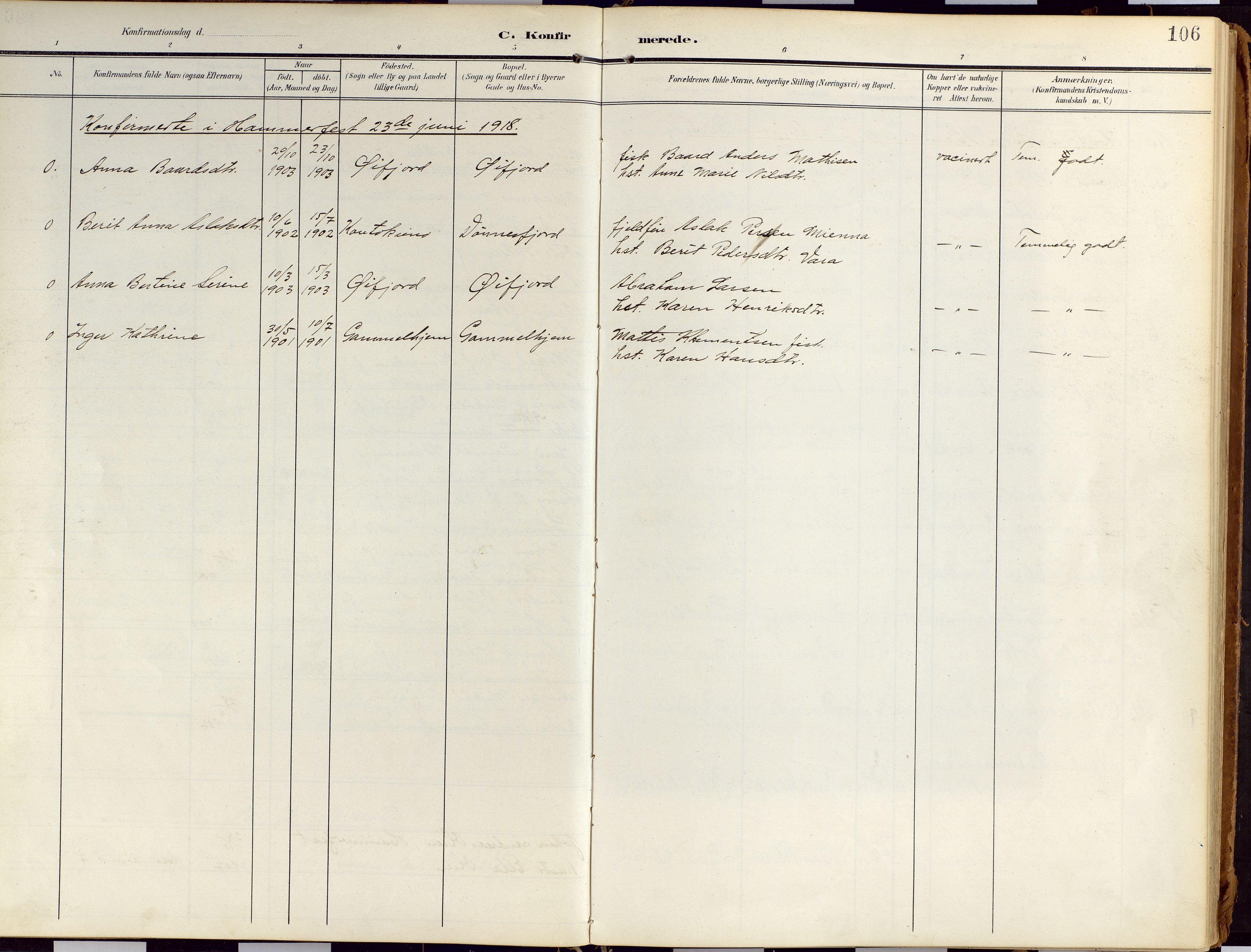 SATØ, Loppa sokneprestkontor, H/Ha/L0010kirke: Ministerialbok nr. 10, 1907-1922, s. 106