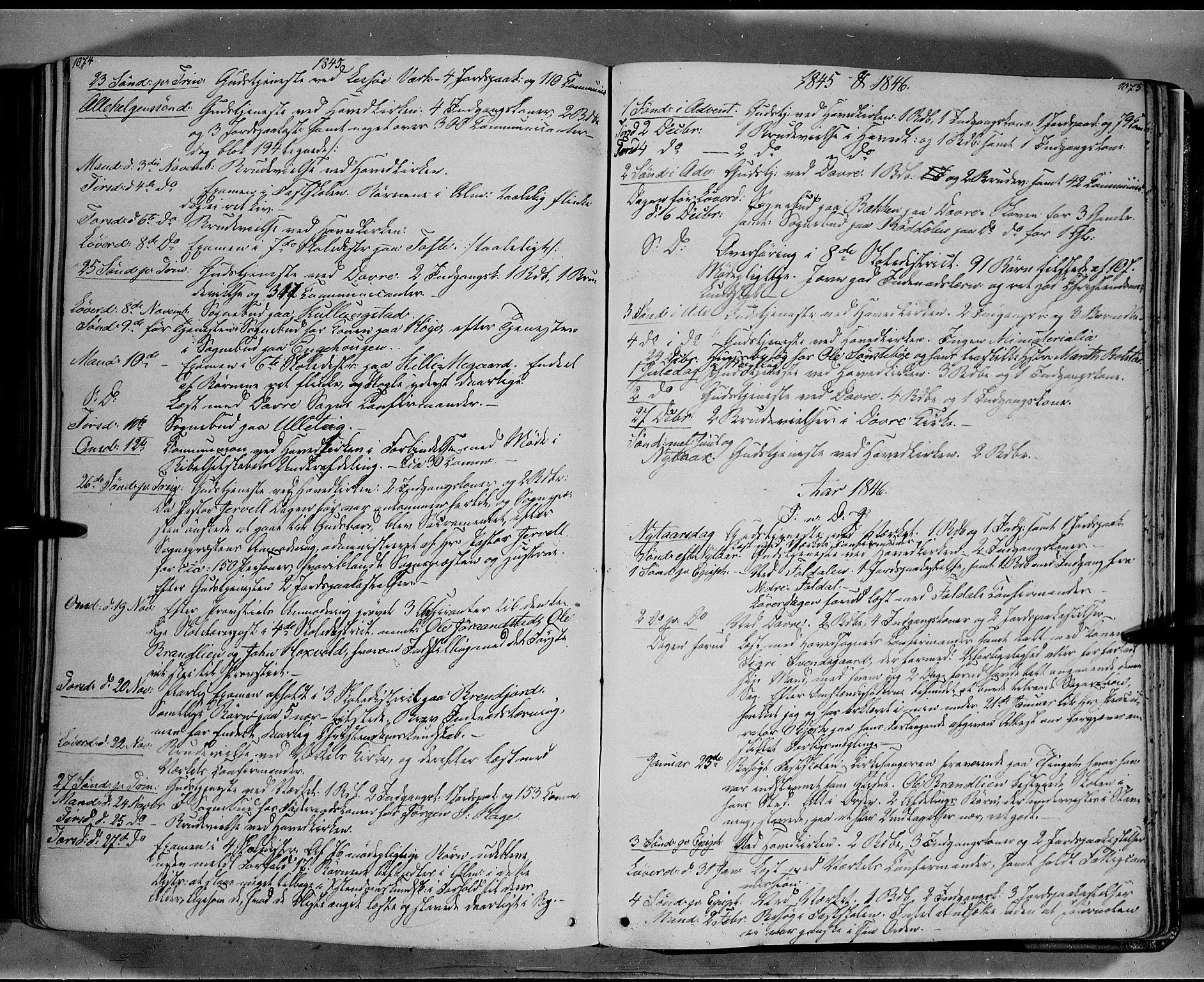 SAH, Lesja prestekontor, Ministerialbok nr. 6B, 1843-1854, s. 1074-1075