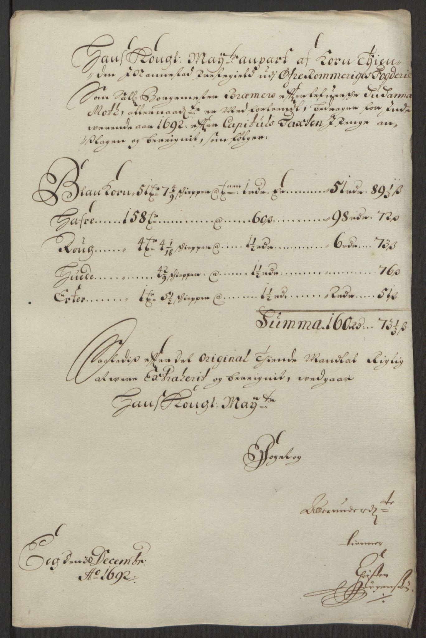 RA, Rentekammeret inntil 1814, Reviderte regnskaper, Fogderegnskap, R12/L0704: Fogderegnskap Øvre Romerike, 1692, s. 46