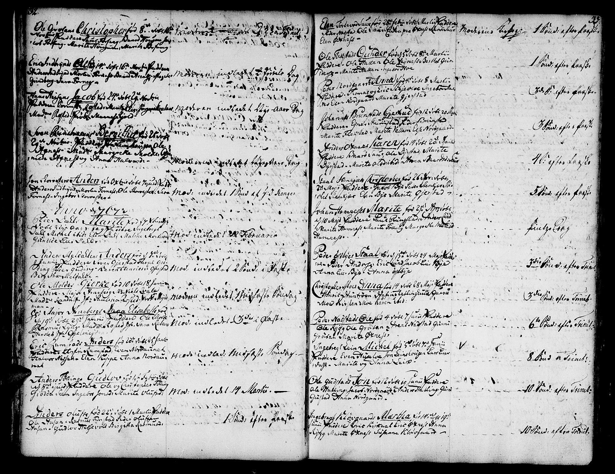 SAT, Ministerialprotokoller, klokkerbøker og fødselsregistre - Nord-Trøndelag, 746/L0440: Ministerialbok nr. 746A02, 1760-1815, s. 32-33