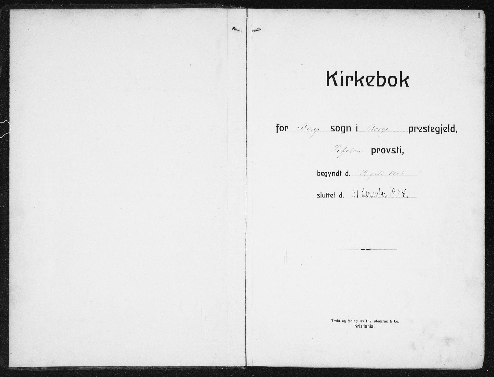 SAT, Ministerialprotokoller, klokkerbøker og fødselsregistre - Nordland, 880/L1135: Ministerialbok nr. 880A09, 1908-1919, s. 1
