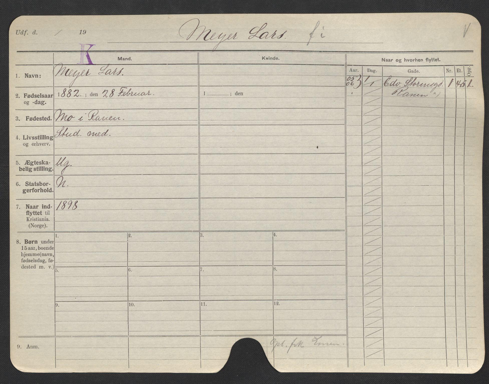 SAO, Oslo folkeregister, Registerkort, F/Fa/Fac/L0007: Menn, 1906-1914, s. 676a