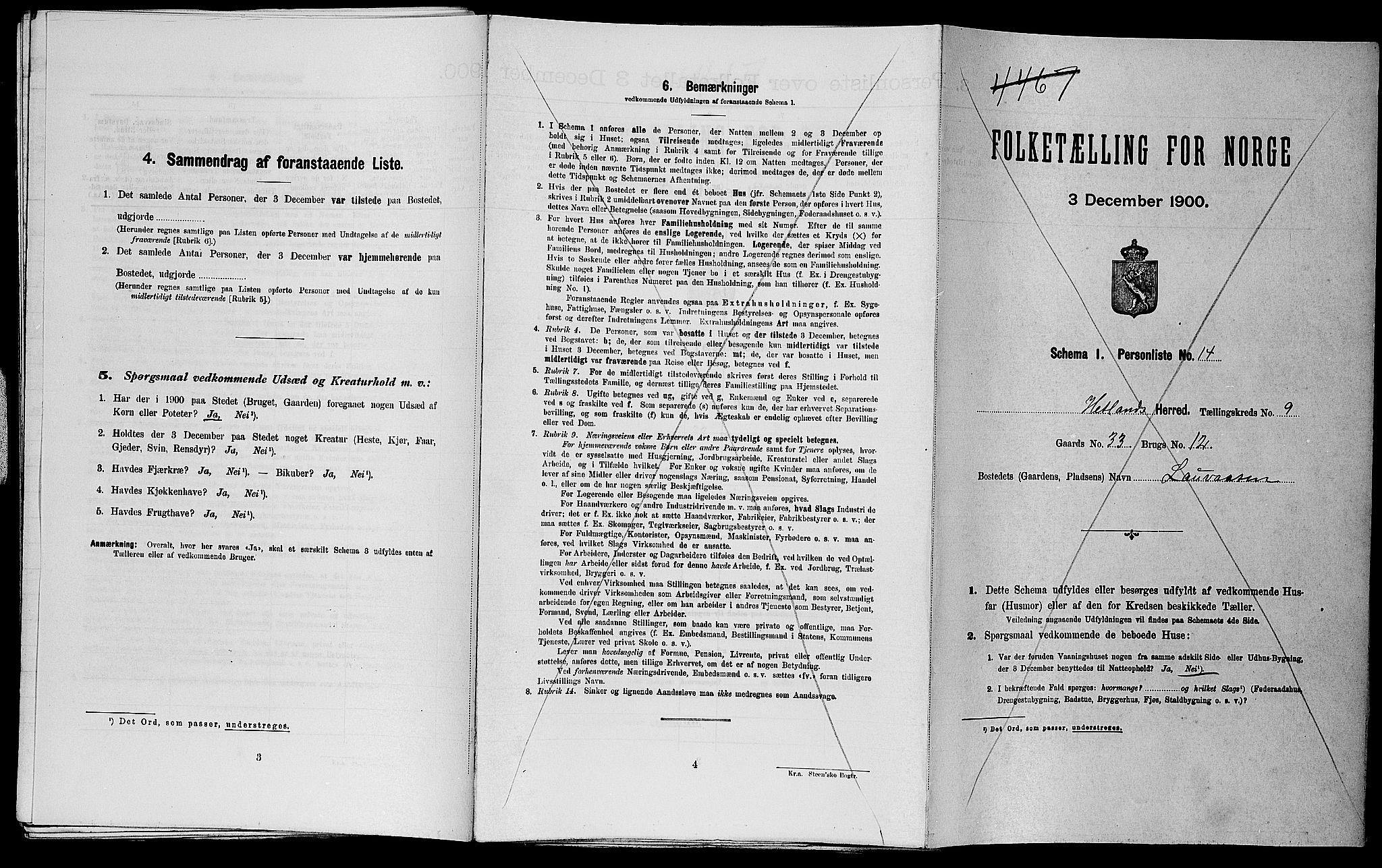 SAST, Folketelling 1900 for 1126 Hetland herred, 1900, s. 1367