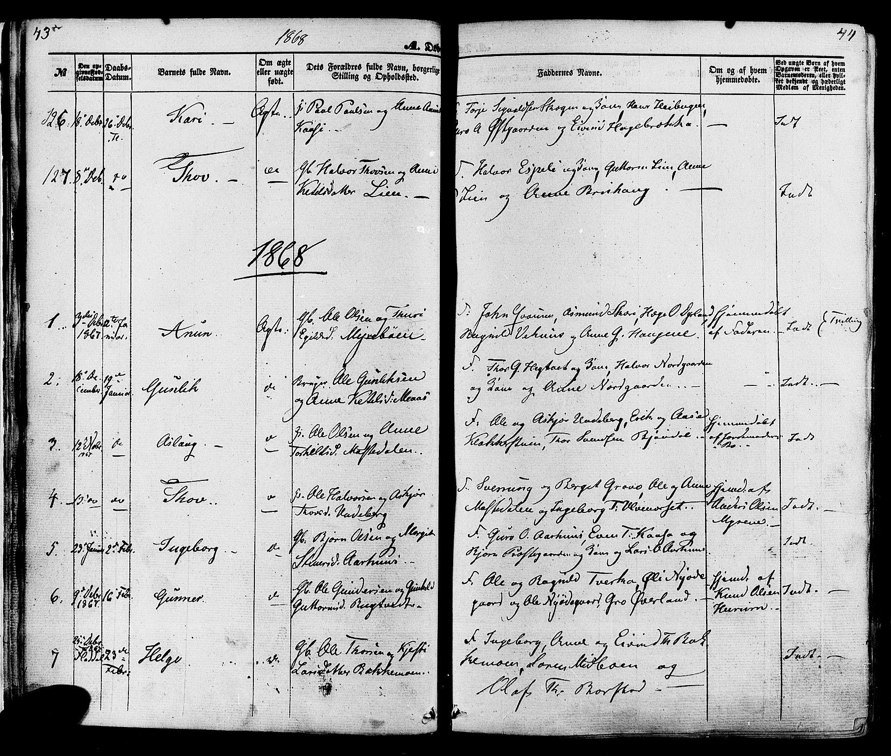 SAKO, Seljord kirkebøker, F/Fa/L0013: Ministerialbok nr. I 13, 1866-1876, s. 43-44