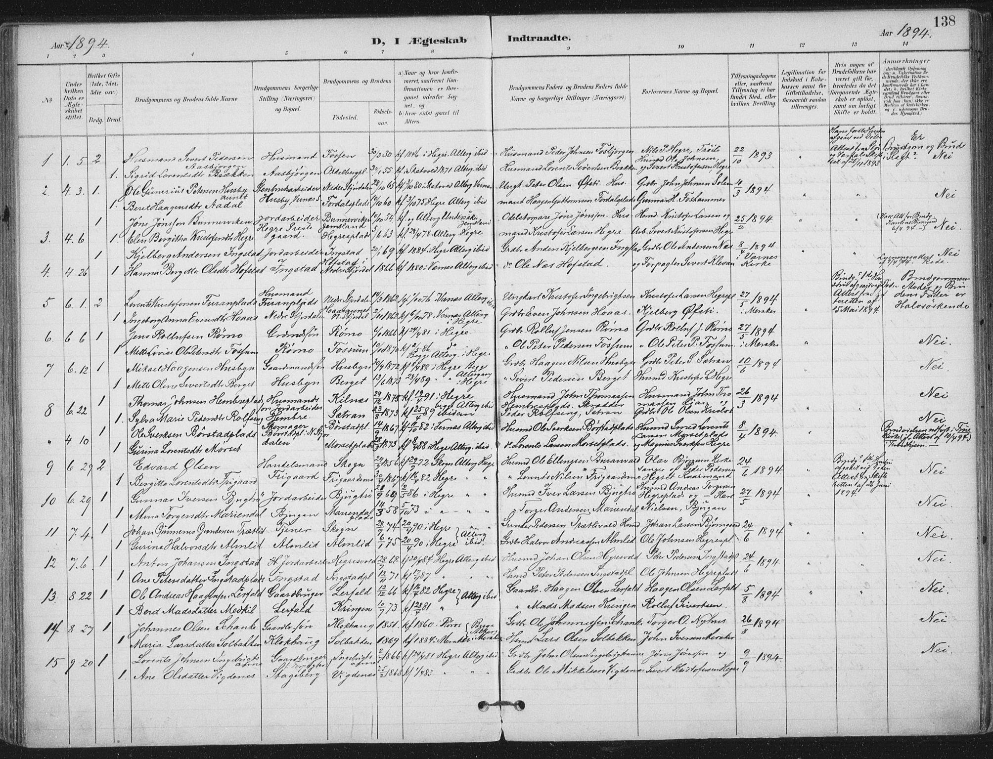 SAT, Ministerialprotokoller, klokkerbøker og fødselsregistre - Nord-Trøndelag, 703/L0031: Ministerialbok nr. 703A04, 1893-1914, s. 138