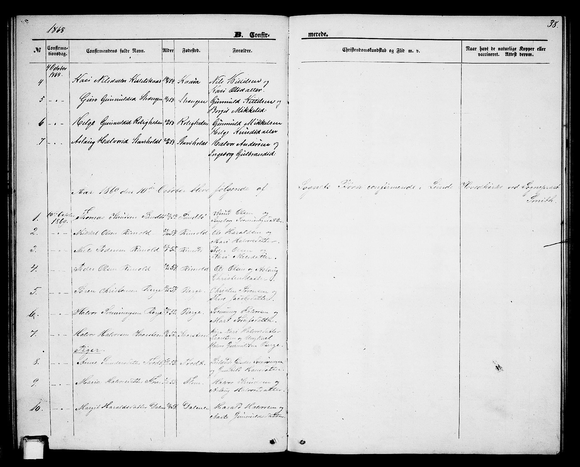 SAKO, Lunde kirkebøker, G/Gb/L0001: Klokkerbok nr. II 1, 1866-1887, s. 38