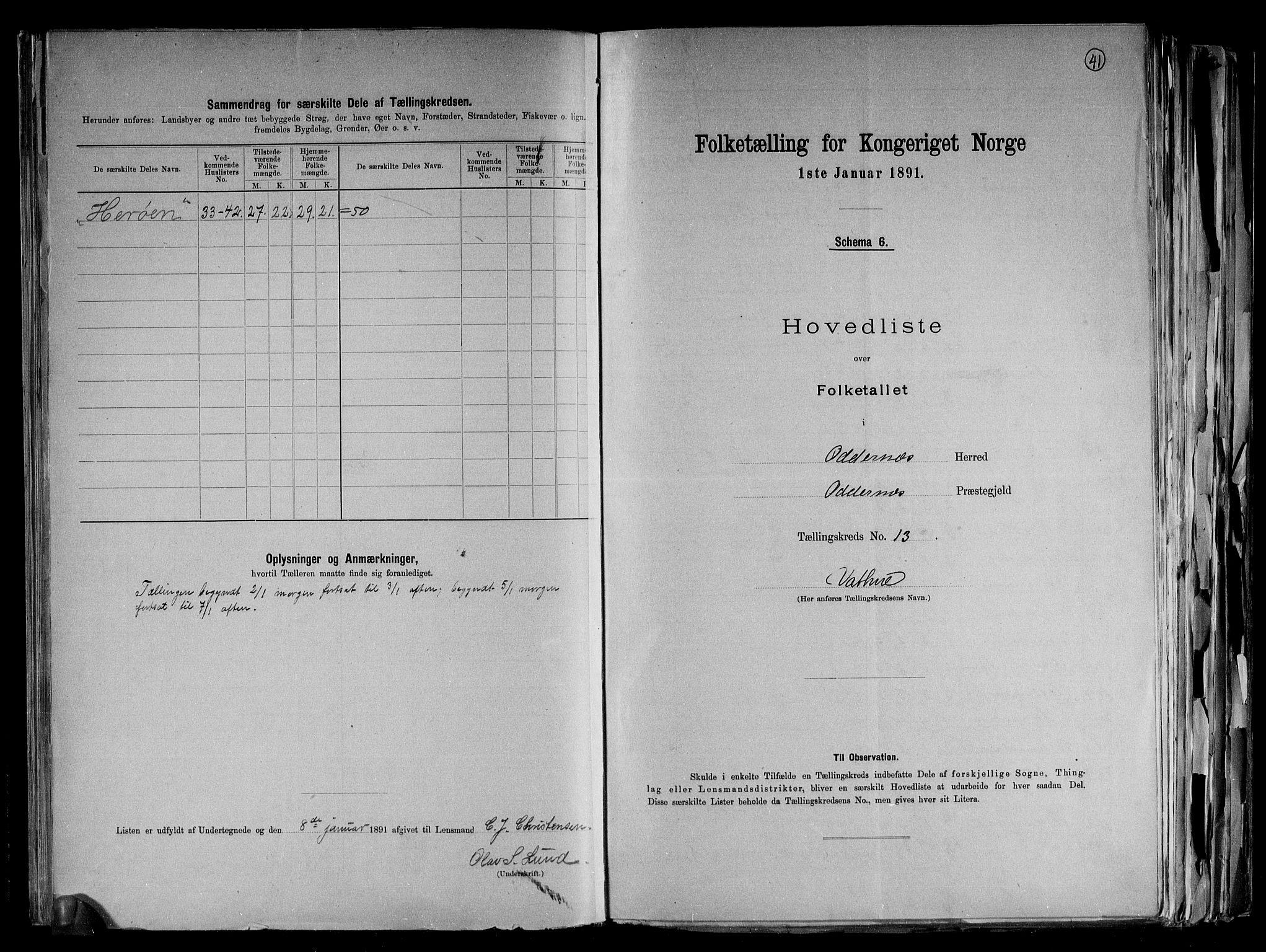 RA, Folketelling 1891 for 1012 Oddernes herred, 1891, s. 29