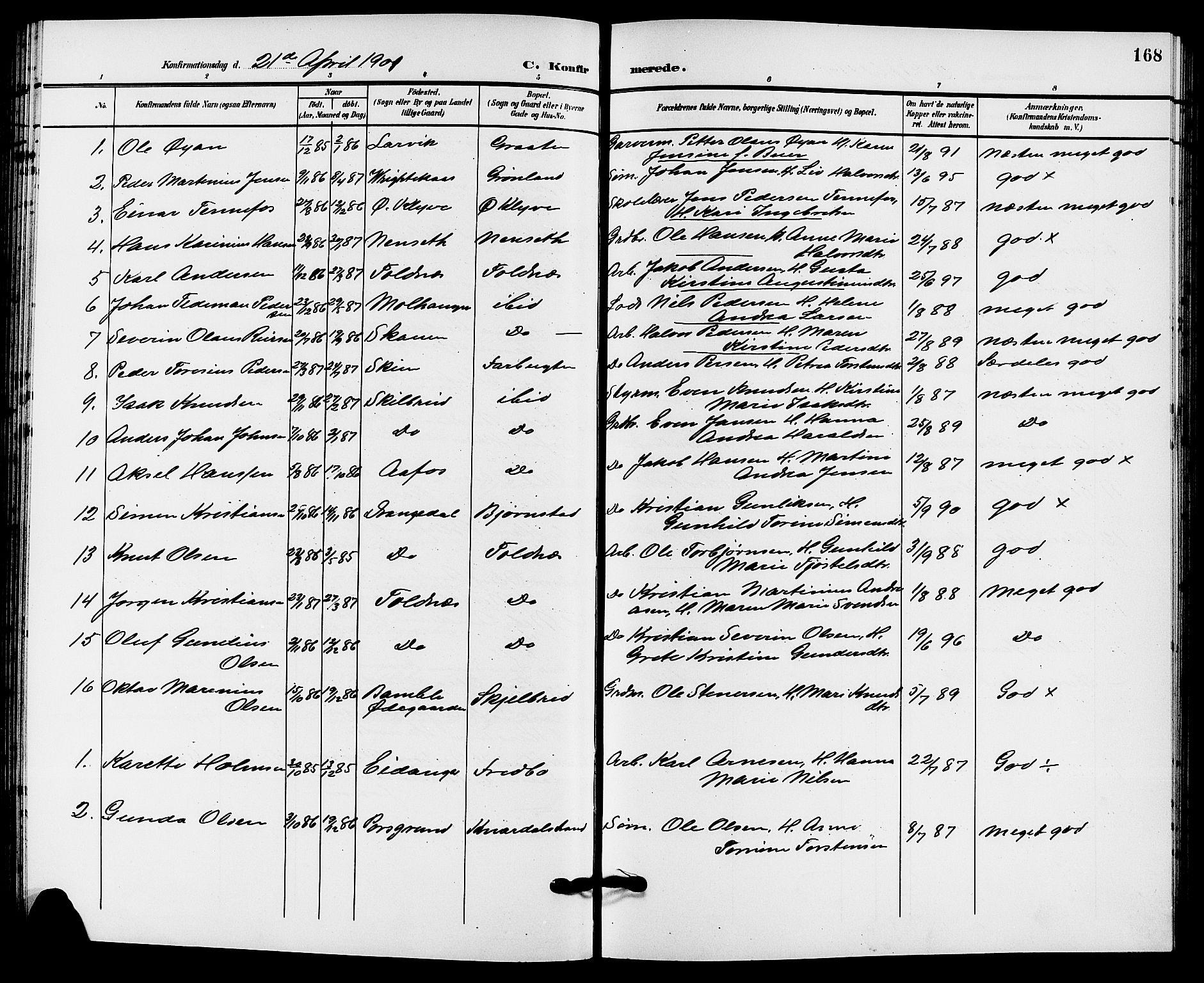 SAKO, Solum kirkebøker, G/Ga/L0008: Klokkerbok nr. I 8, 1898-1909, s. 168