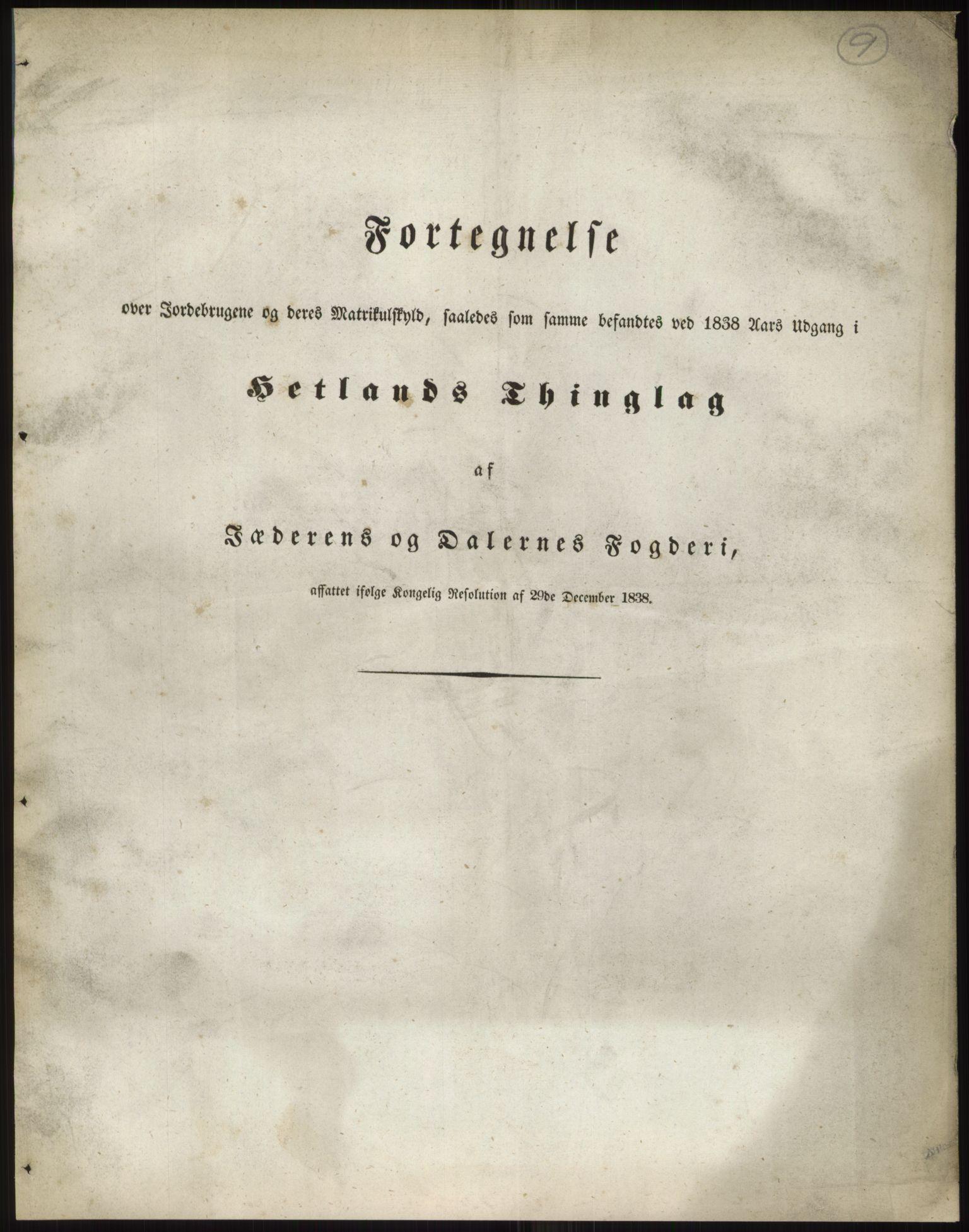 RA, 1838-matrikkelen (publikasjon)*, 1838, s. 9
