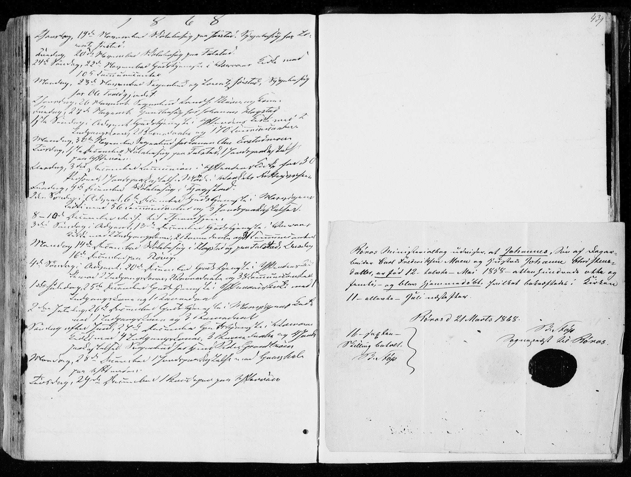 SAT, Ministerialprotokoller, klokkerbøker og fødselsregistre - Nord-Trøndelag, 722/L0218: Ministerialbok nr. 722A05, 1843-1868, s. 439