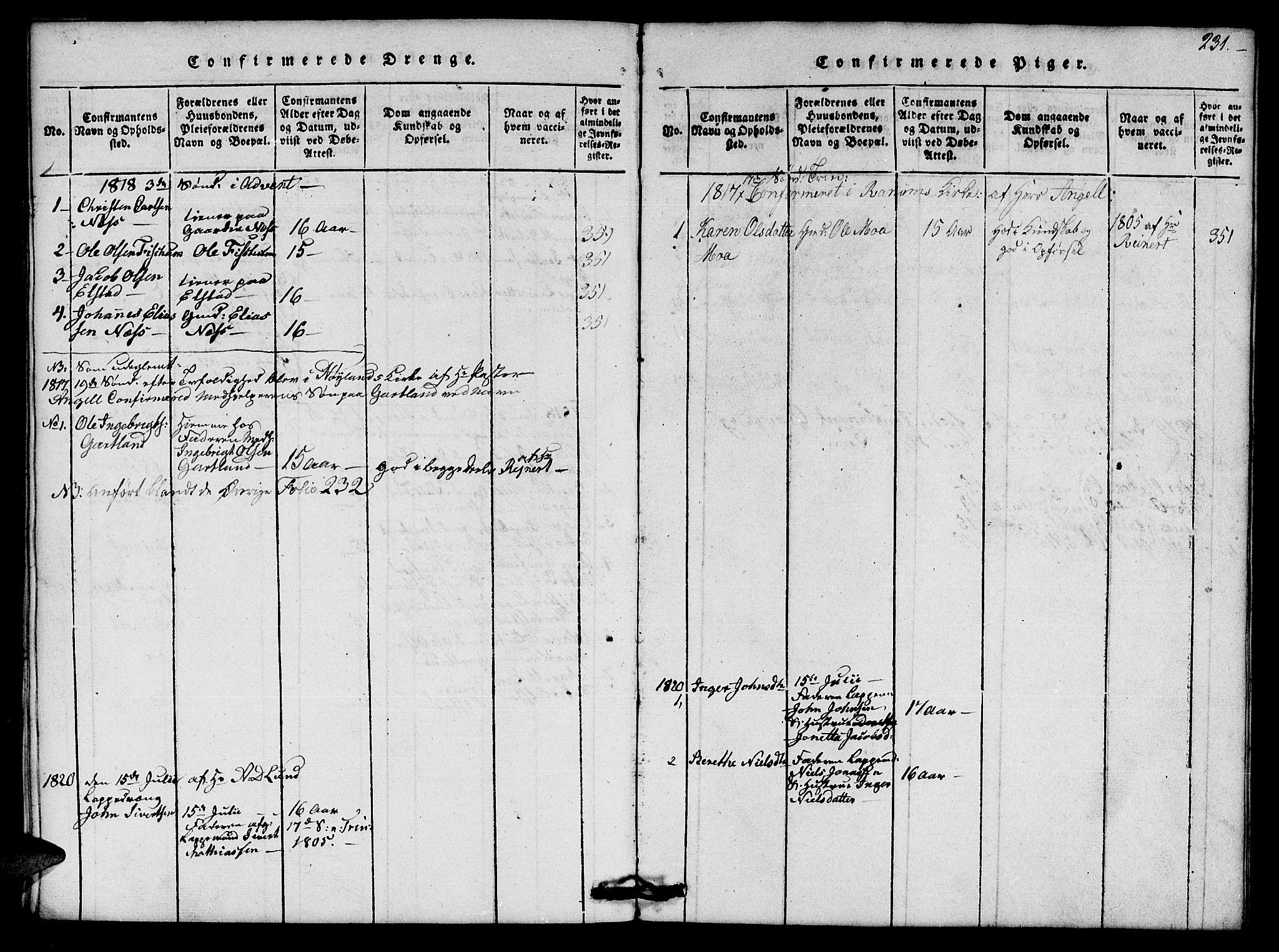 SAT, Ministerialprotokoller, klokkerbøker og fødselsregistre - Nord-Trøndelag, 759/L0527: Klokkerbok nr. 759C01 /1, 1816-1825, s. 231