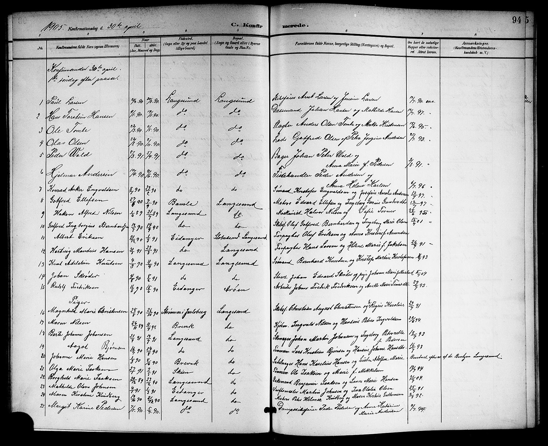 SAKO, Langesund kirkebøker, G/Ga/L0006: Klokkerbok nr. 6, 1899-1918, s. 94
