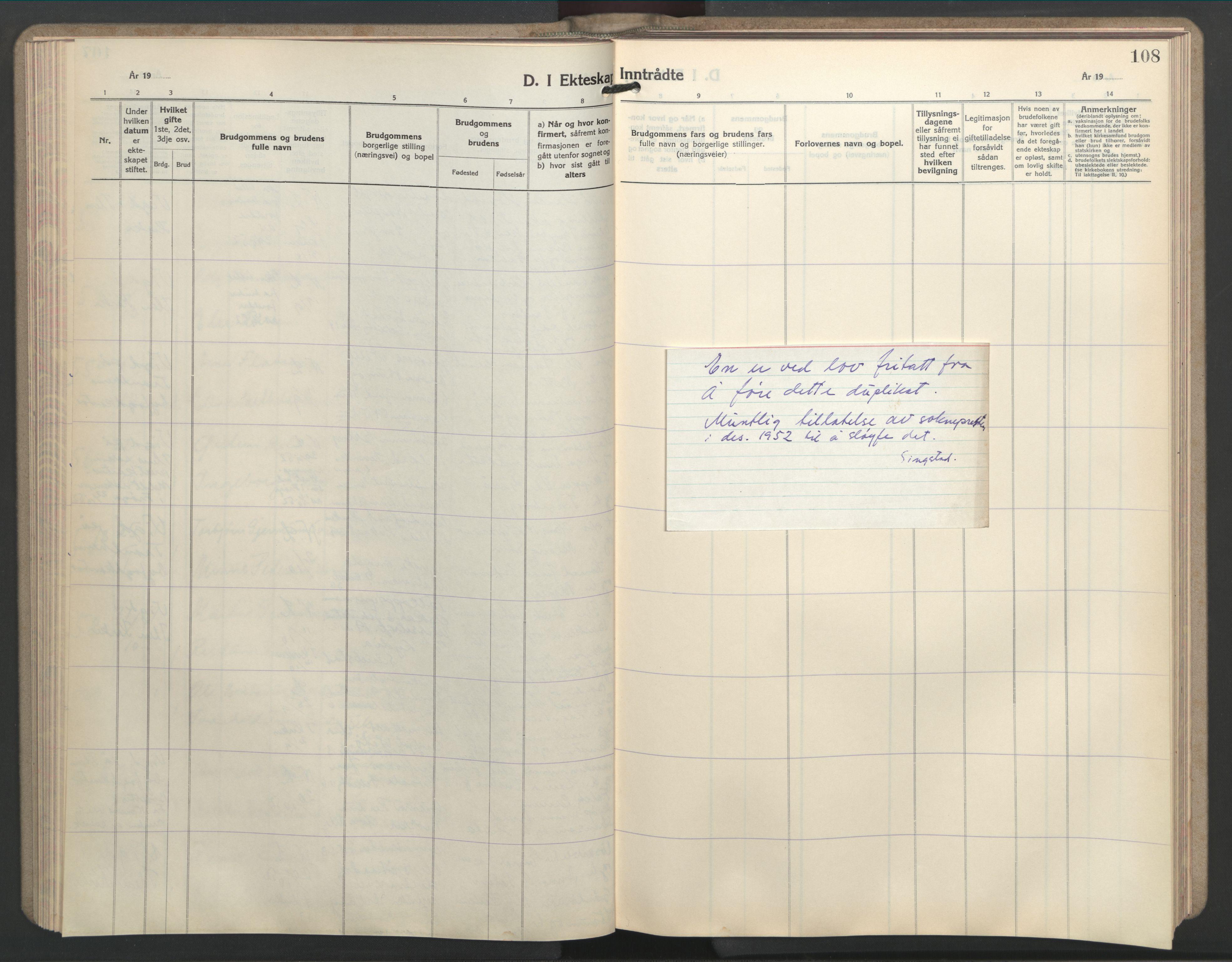 SAT, Ministerialprotokoller, klokkerbøker og fødselsregistre - Sør-Trøndelag, 603/L0177: Klokkerbok nr. 603C05, 1941-1952, s. 108