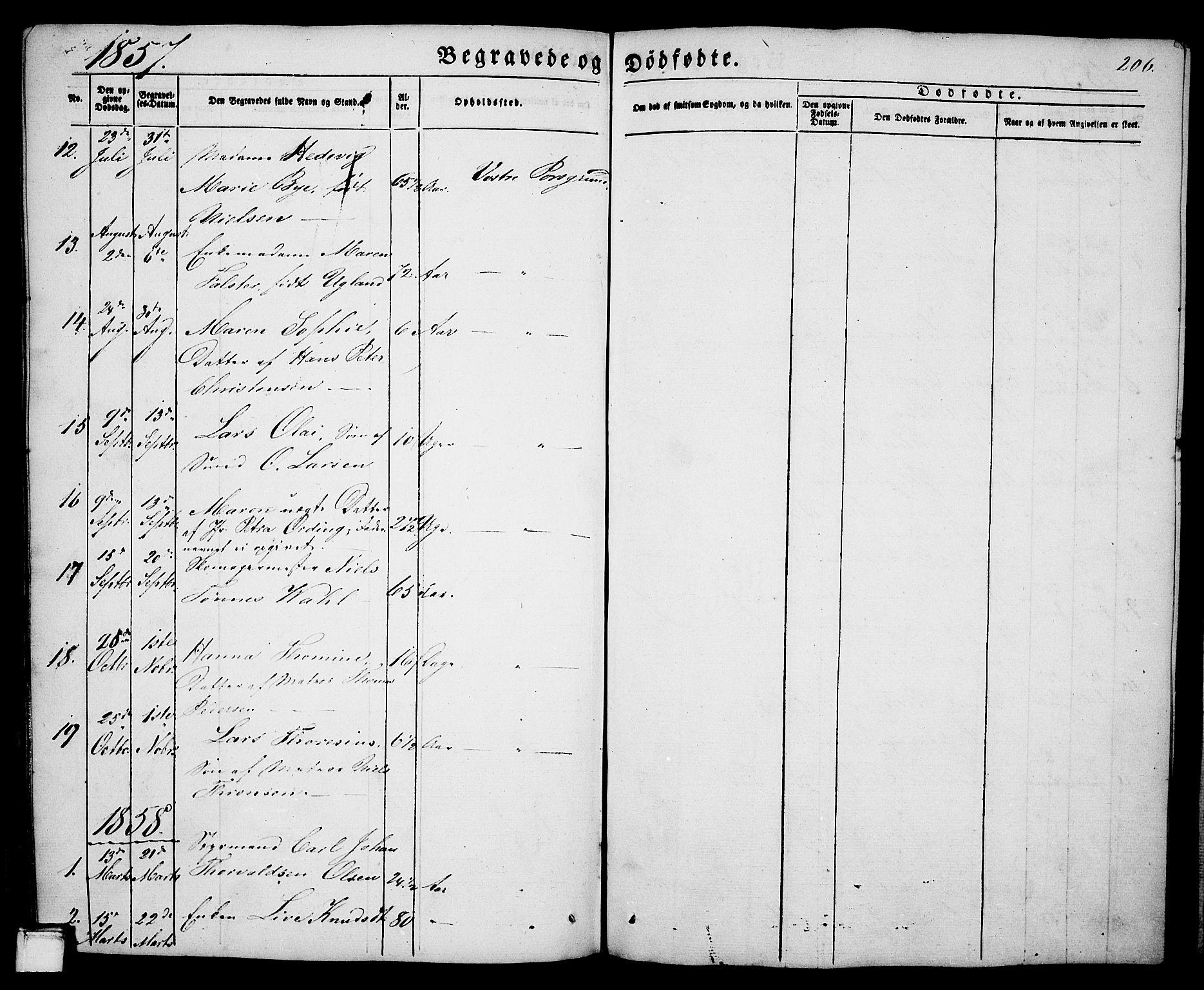 SAKO, Porsgrunn kirkebøker , G/Ga/L0002: Klokkerbok nr. I 2, 1847-1877, s. 206