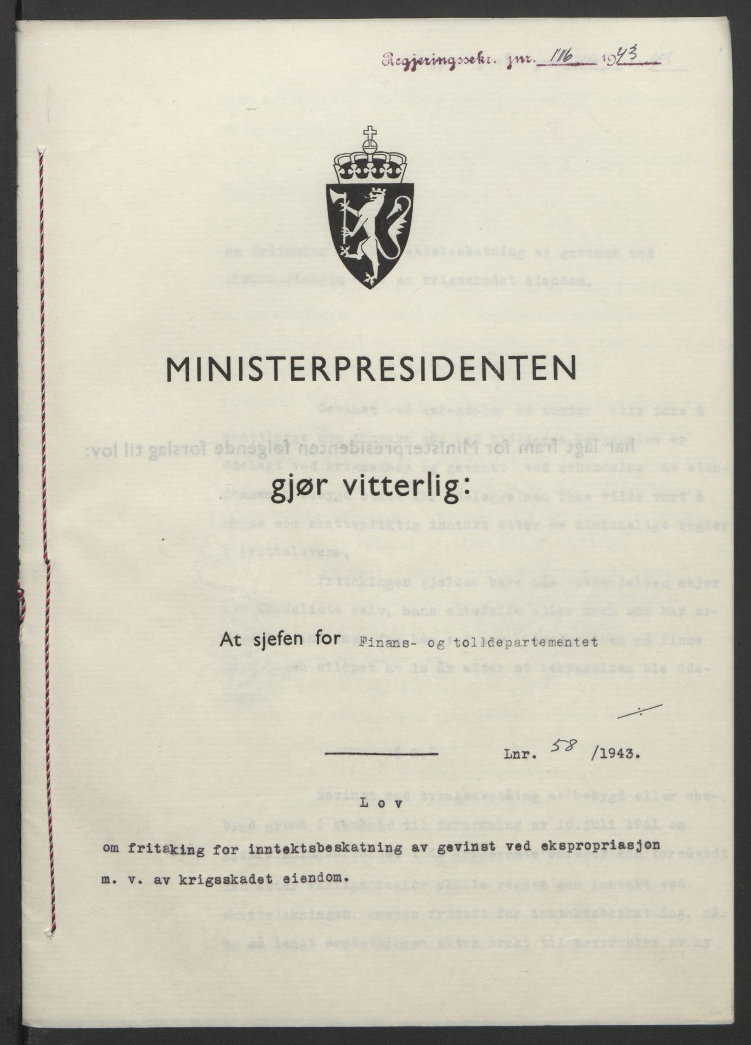 RA, NS-administrasjonen 1940-1945 (Statsrådsekretariatet, de kommisariske statsråder mm), D/Db/L0099: Lover, 1943, s. 259