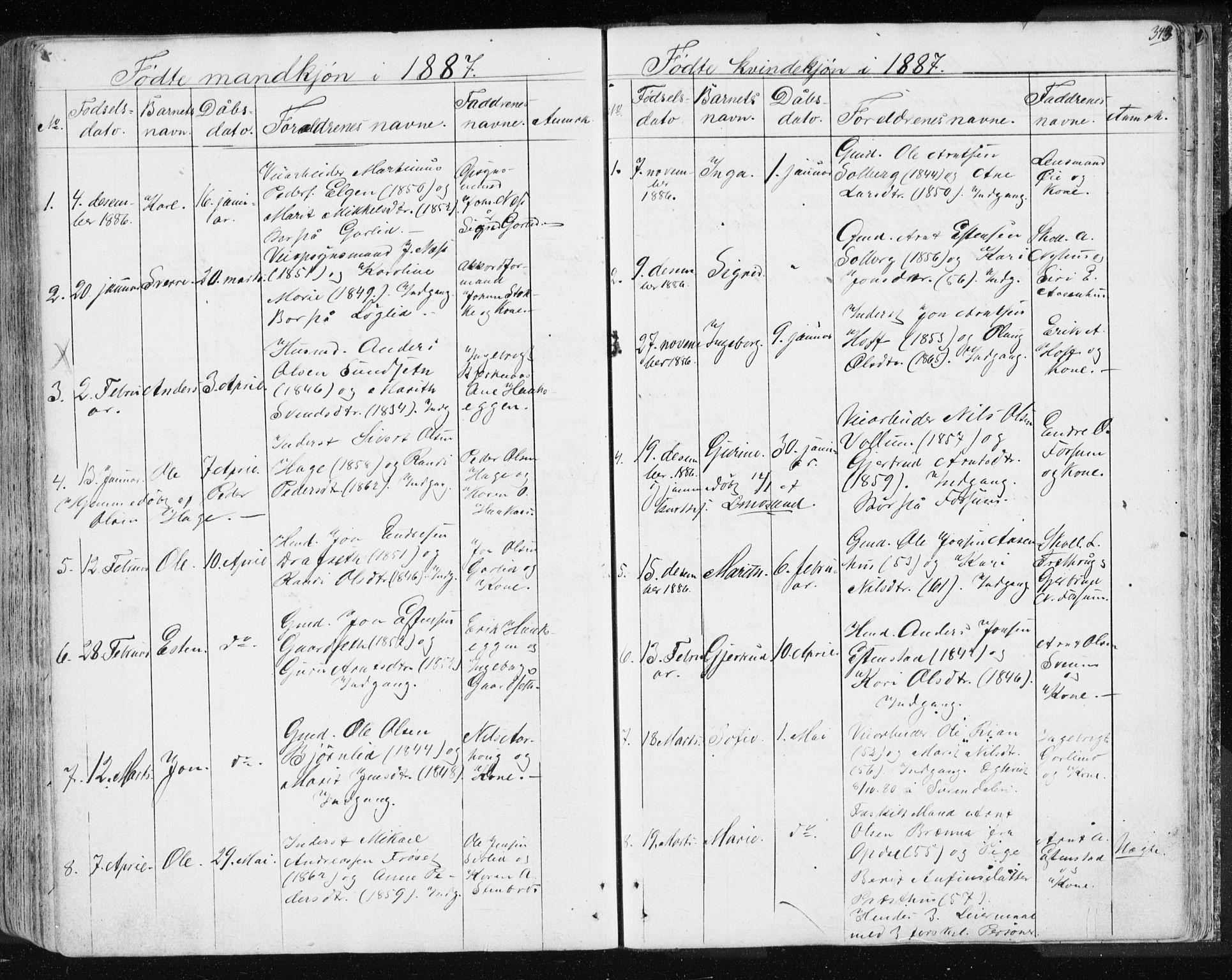 SAT, Ministerialprotokoller, klokkerbøker og fødselsregistre - Sør-Trøndelag, 689/L1043: Klokkerbok nr. 689C02, 1816-1892, s. 343