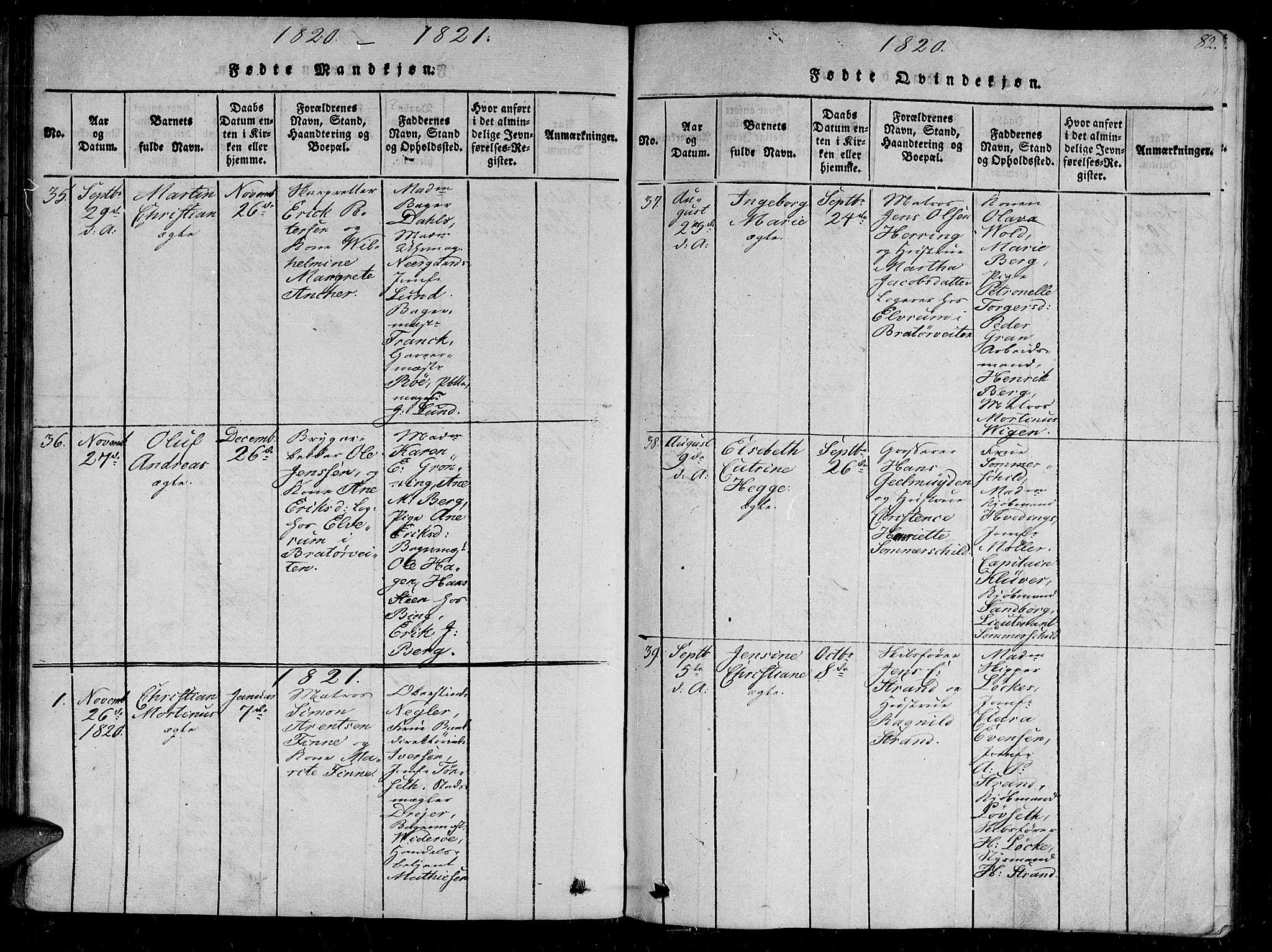 SAT, Ministerialprotokoller, klokkerbøker og fødselsregistre - Sør-Trøndelag, 602/L0107: Ministerialbok nr. 602A05, 1815-1821, s. 82