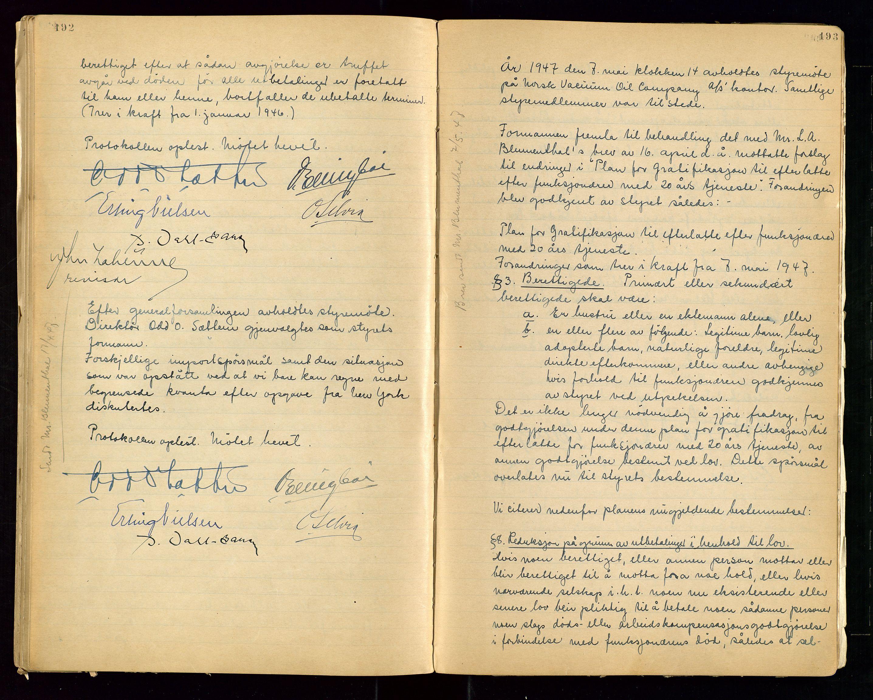 """SAST, PA 1513 - Norsk Vacuum Oil Company A/S, A/L0001: """"Generalforsamlings og styreprotokoll"""" fra 27/4-1918 til 6/4-1949, 1918-1949, s. 192-193"""