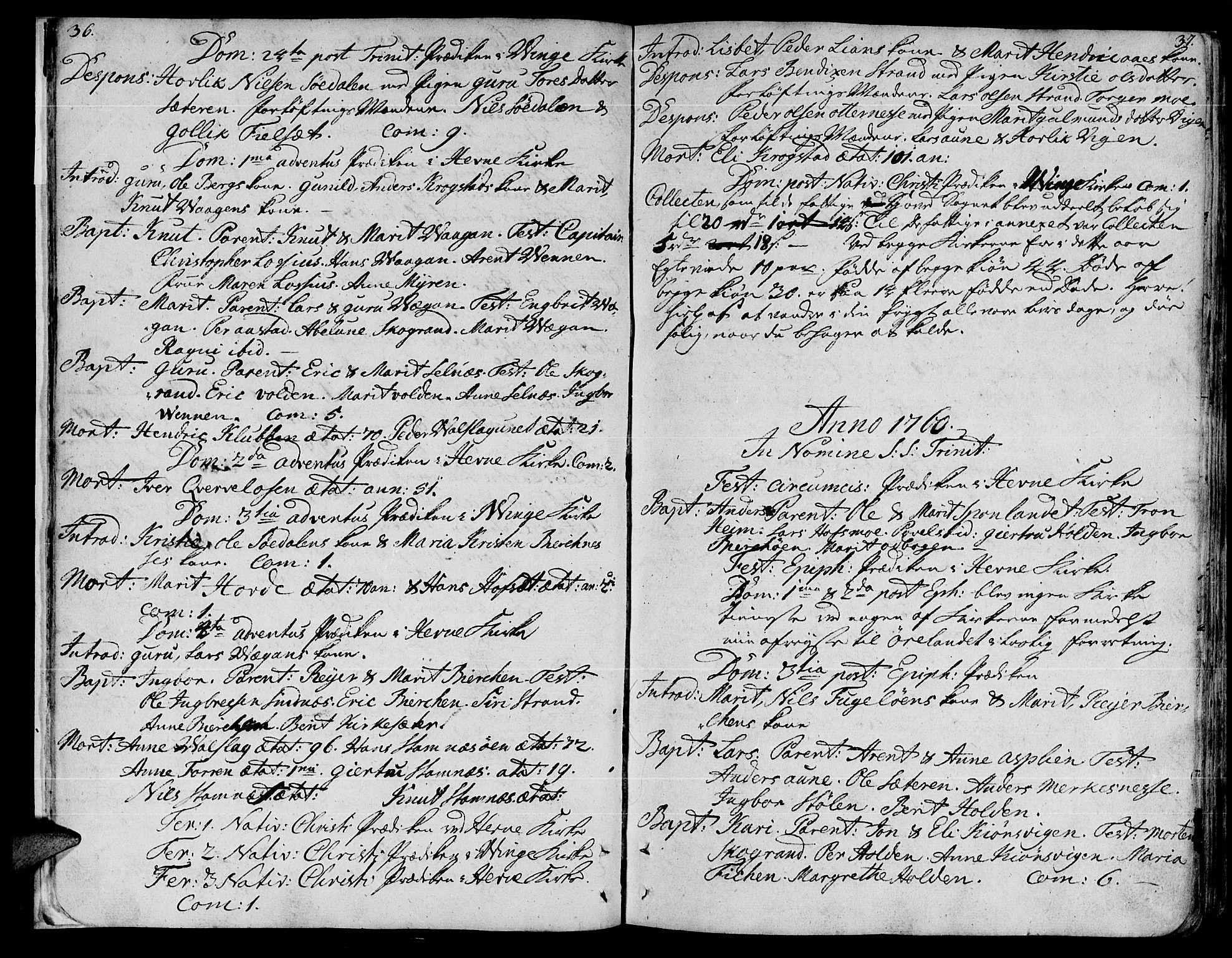 SAT, Ministerialprotokoller, klokkerbøker og fødselsregistre - Sør-Trøndelag, 630/L0489: Ministerialbok nr. 630A02, 1757-1794, s. 36-37