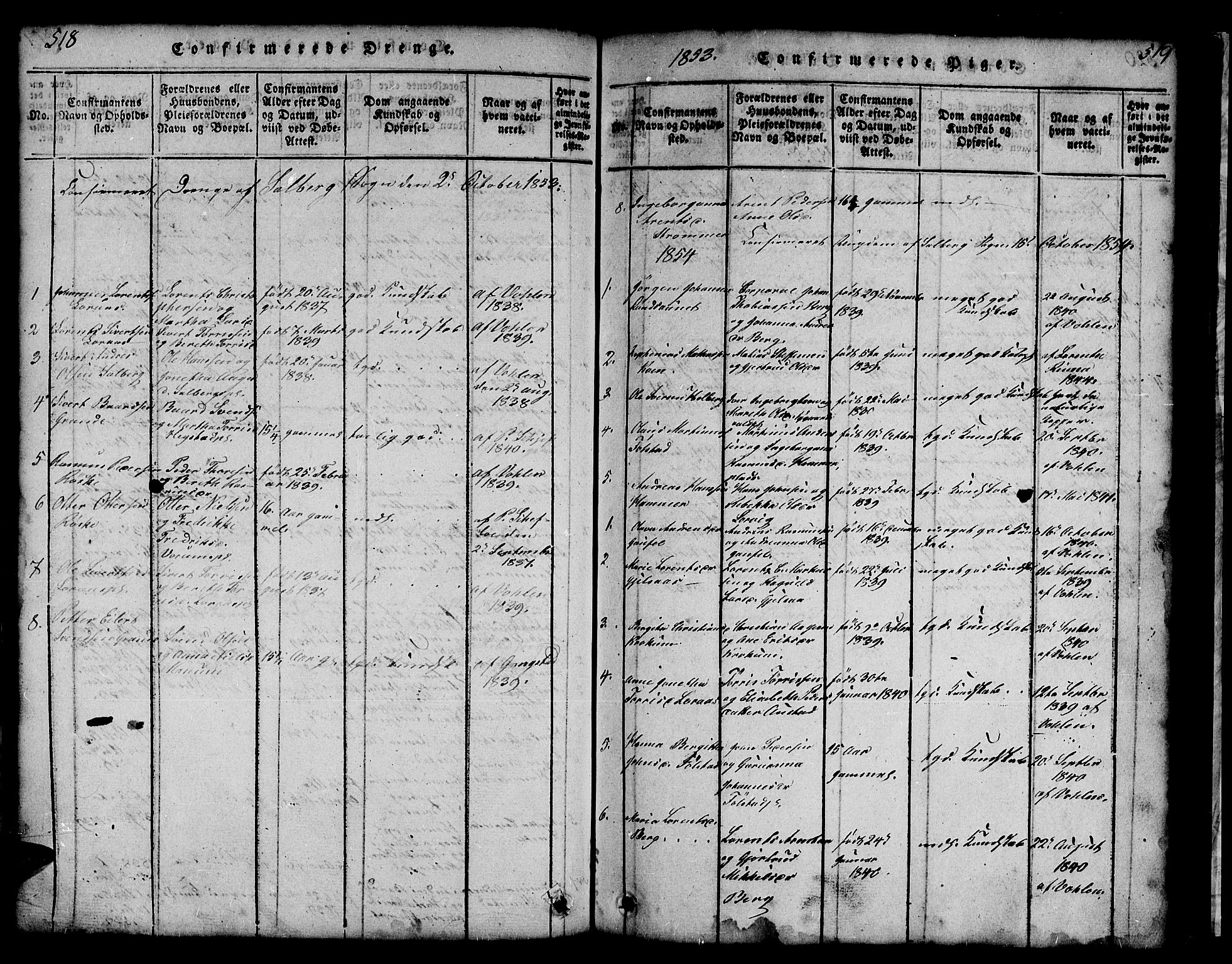 SAT, Ministerialprotokoller, klokkerbøker og fødselsregistre - Nord-Trøndelag, 731/L0310: Klokkerbok nr. 731C01, 1816-1874, s. 518-519