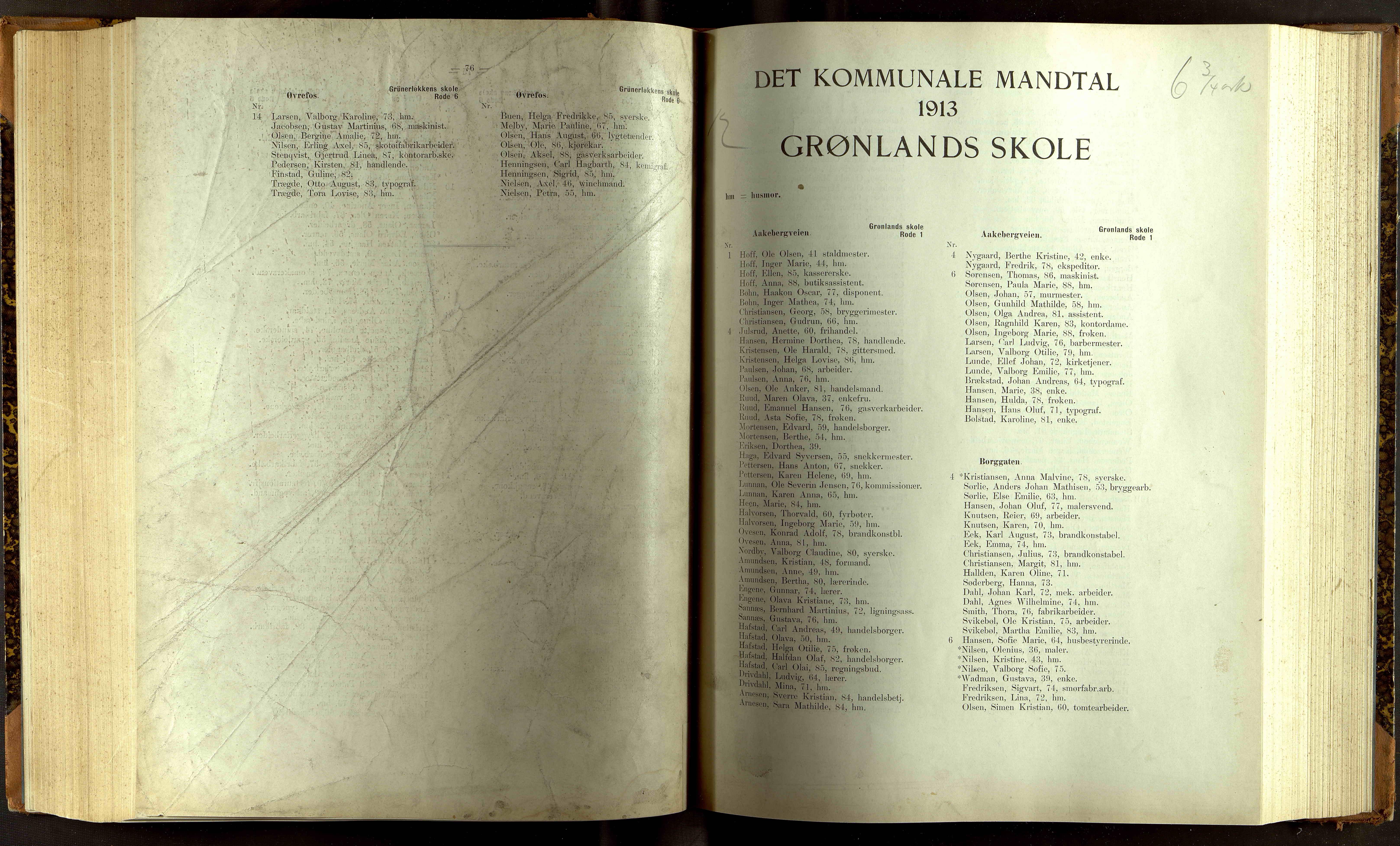 OBA, Folkeregisteret ( Valgstyret ), 1913, s. 4076-5001