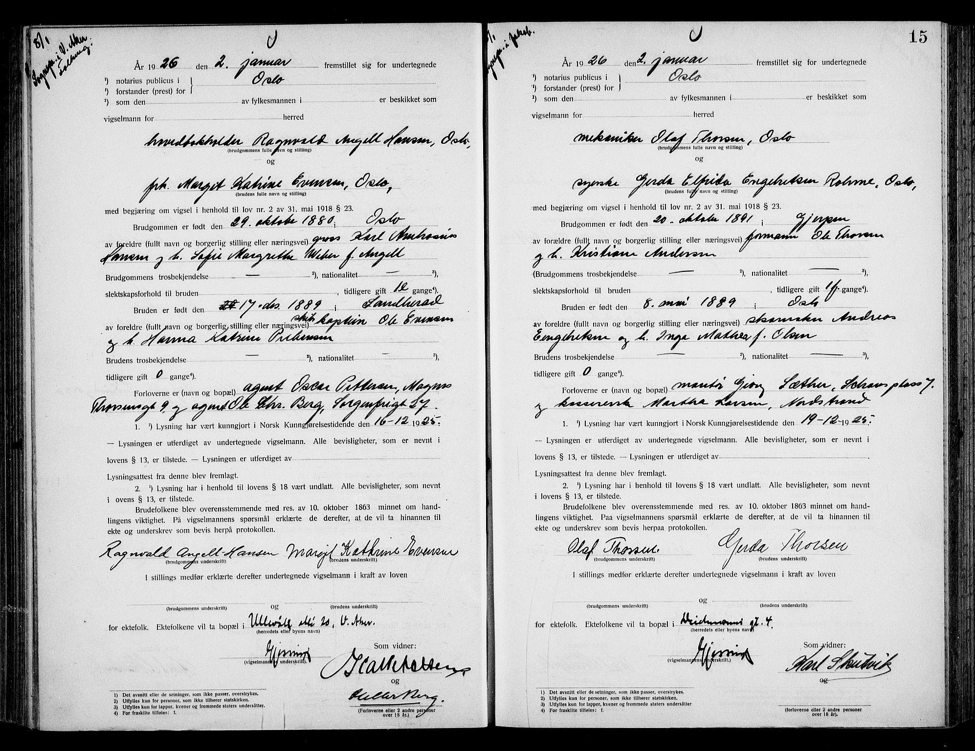 SAO, Oslo byfogd avd. I, L/Lb/Lbb/L0017: Notarialprotokoll, rekke II: Vigsler, 1924-1926, s. 14b-15a