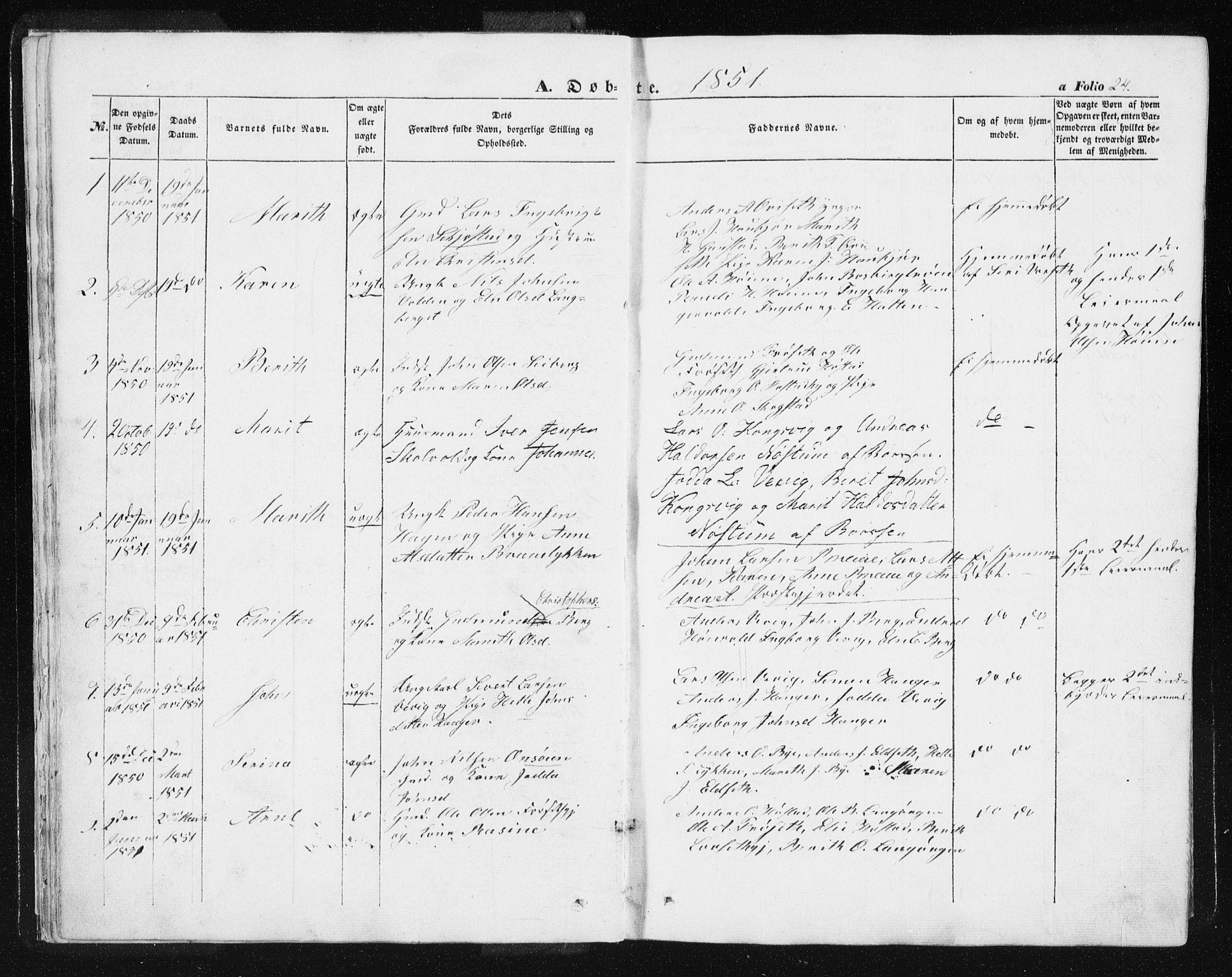 SAT, Ministerialprotokoller, klokkerbøker og fødselsregistre - Sør-Trøndelag, 612/L0376: Ministerialbok nr. 612A08, 1846-1859, s. 24
