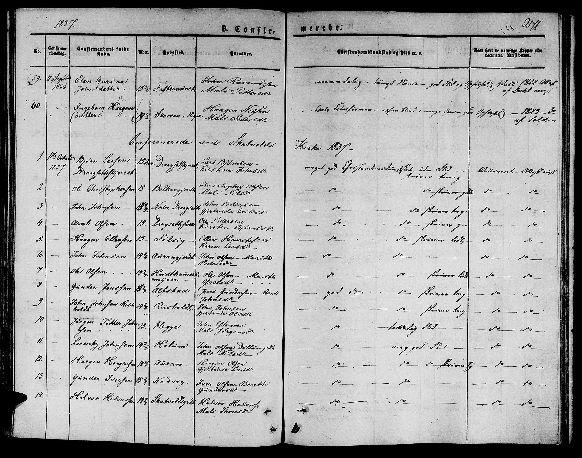 SAT, Ministerialprotokoller, klokkerbøker og fødselsregistre - Nord-Trøndelag, 709/L0071: Ministerialbok nr. 709A11, 1833-1844, s. 271