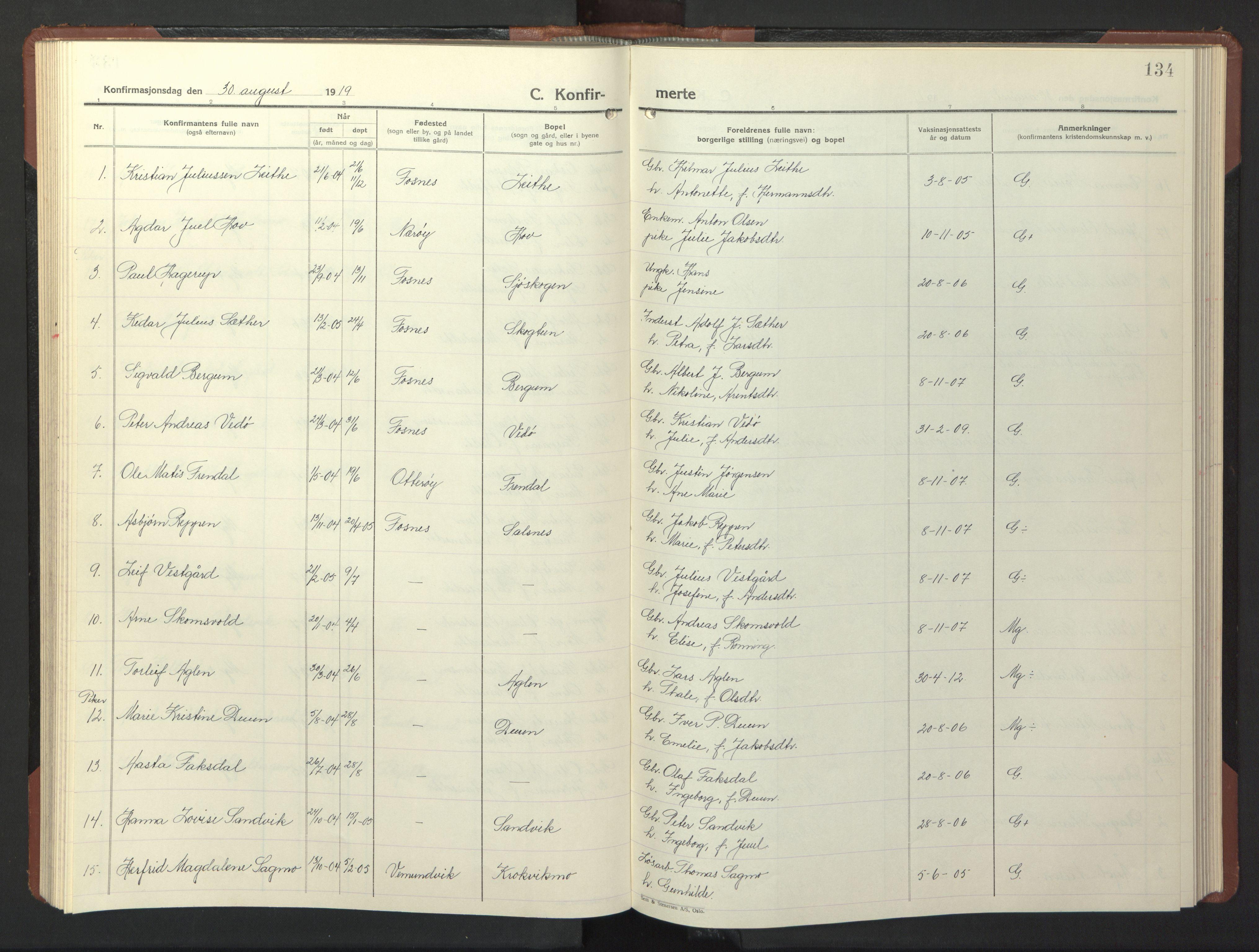 SAT, Ministerialprotokoller, klokkerbøker og fødselsregistre - Nord-Trøndelag, 773/L0625: Klokkerbok nr. 773C01, 1910-1952, s. 134
