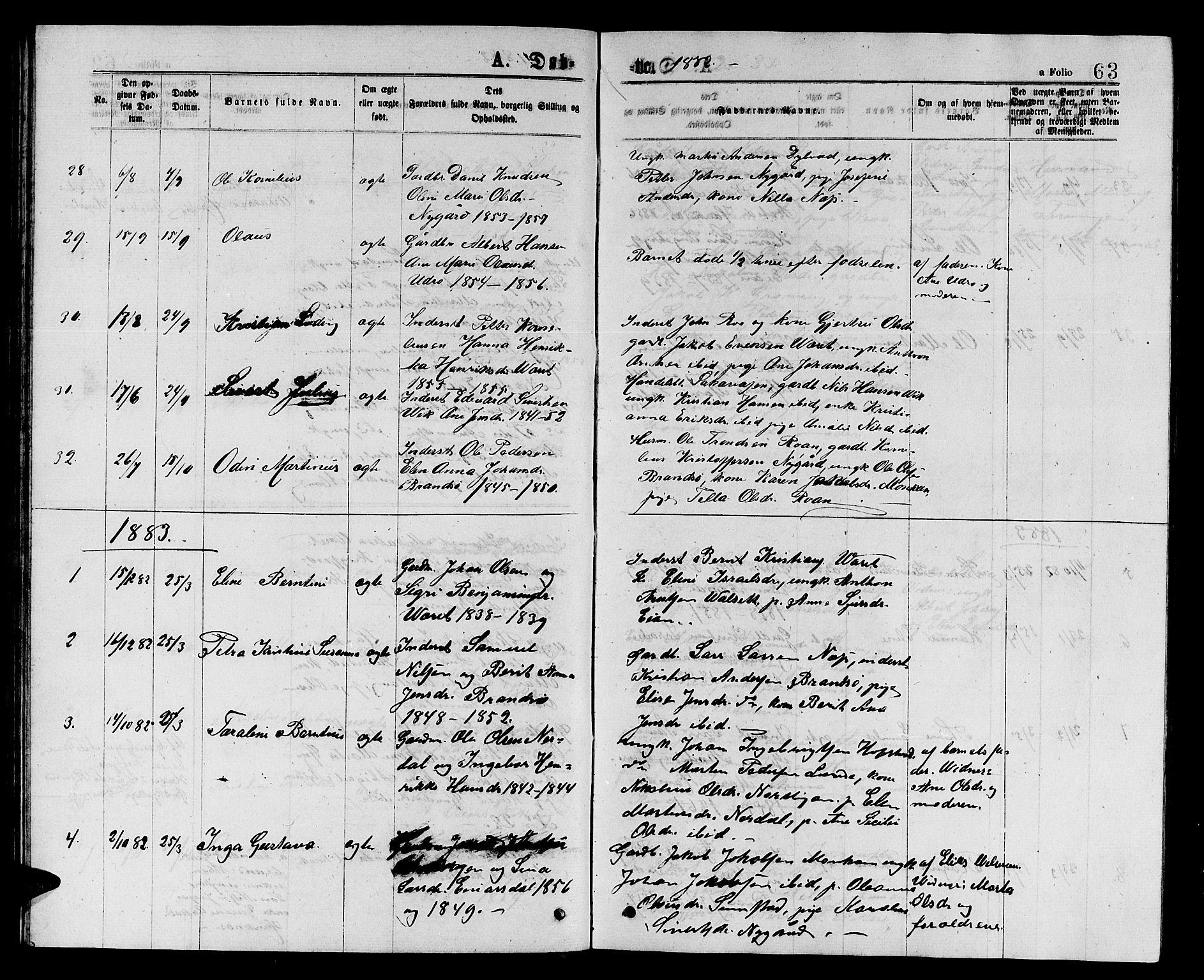 SAT, Ministerialprotokoller, klokkerbøker og fødselsregistre - Sør-Trøndelag, 657/L0715: Klokkerbok nr. 657C02, 1873-1888, s. 63