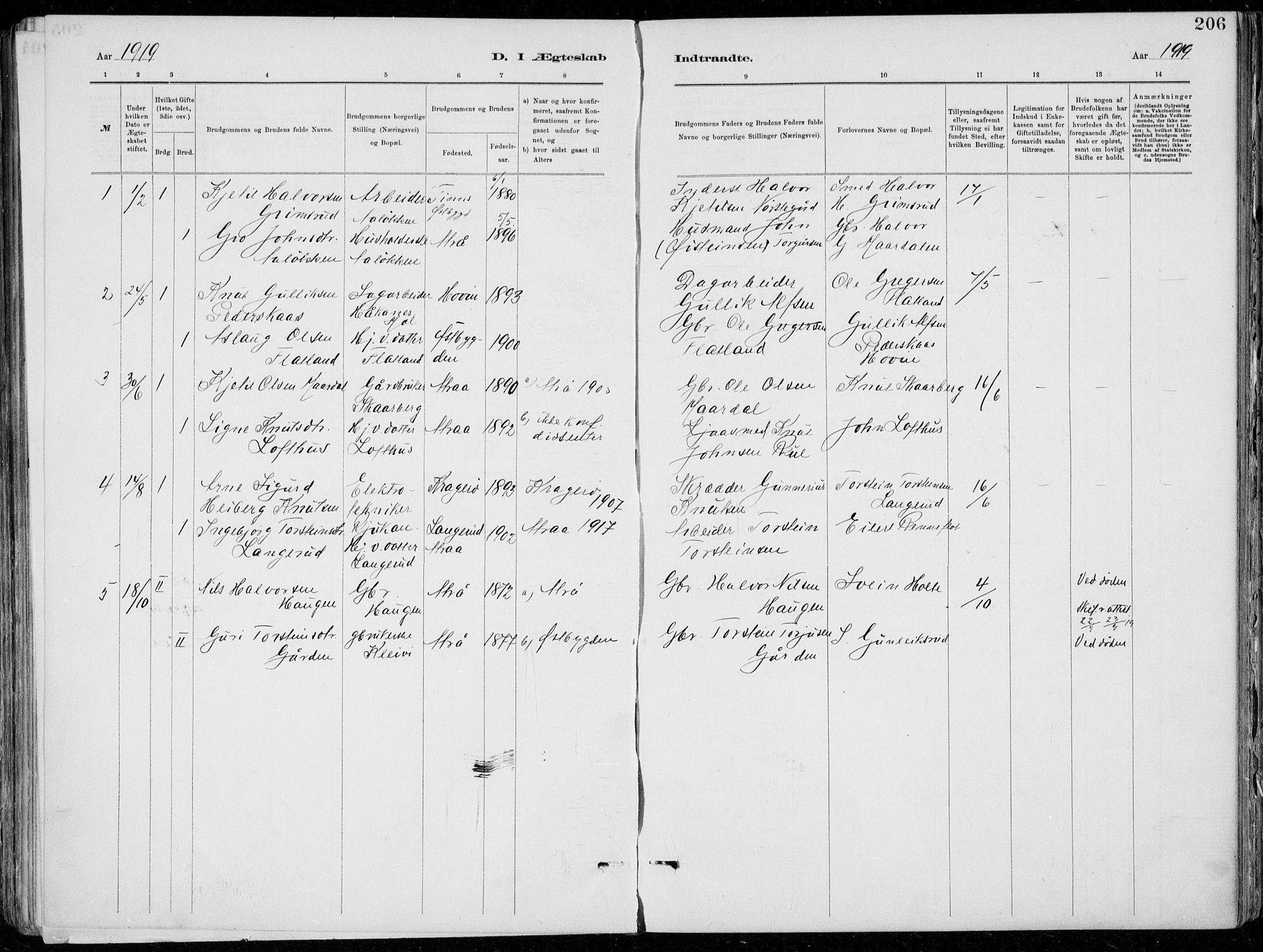 SAKO, Tinn kirkebøker, F/Fa/L0007: Ministerialbok nr. I 7, 1878-1922, s. 206