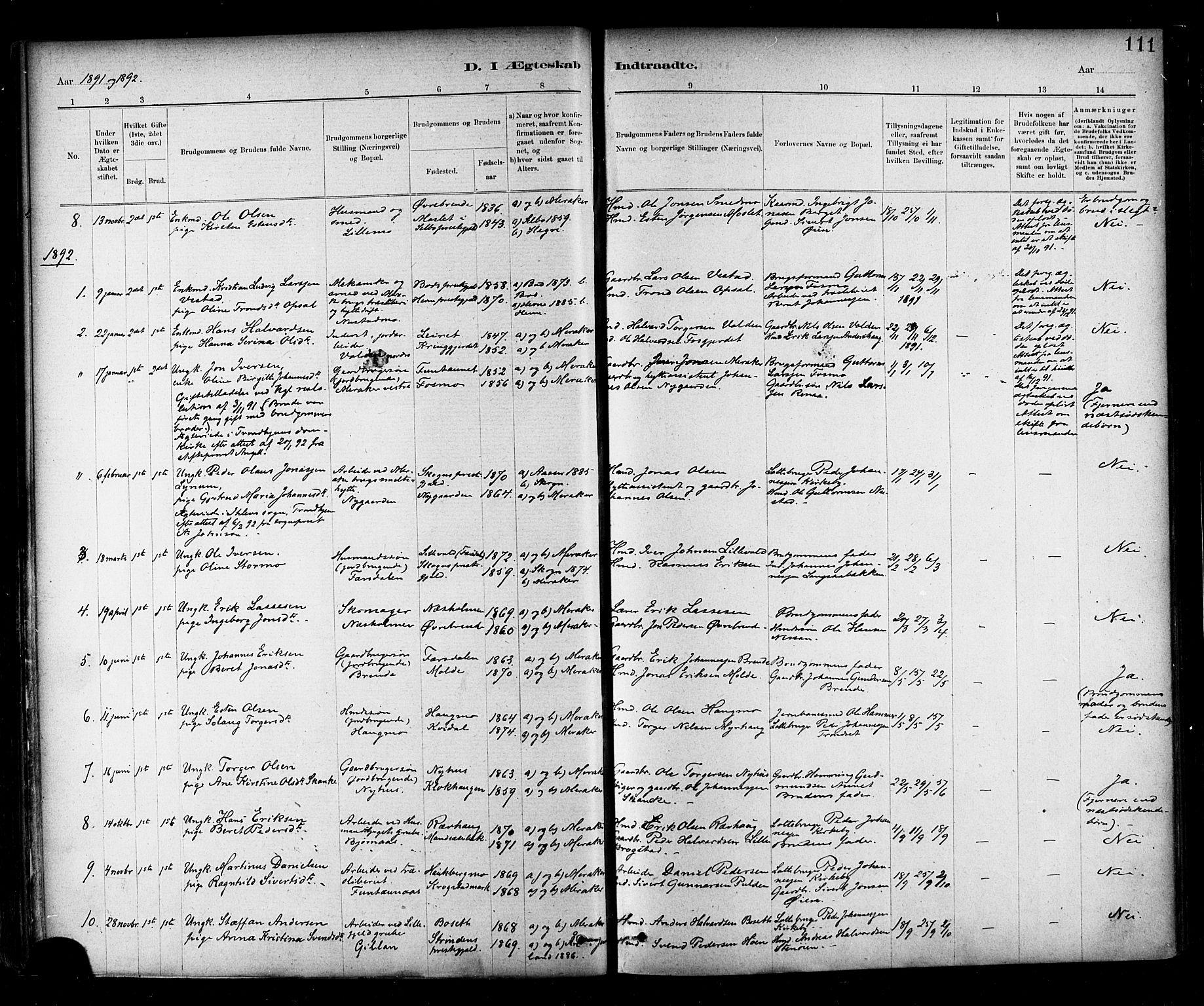 SAT, Ministerialprotokoller, klokkerbøker og fødselsregistre - Nord-Trøndelag, 706/L0047: Ministerialbok nr. 706A03, 1878-1892, s. 111