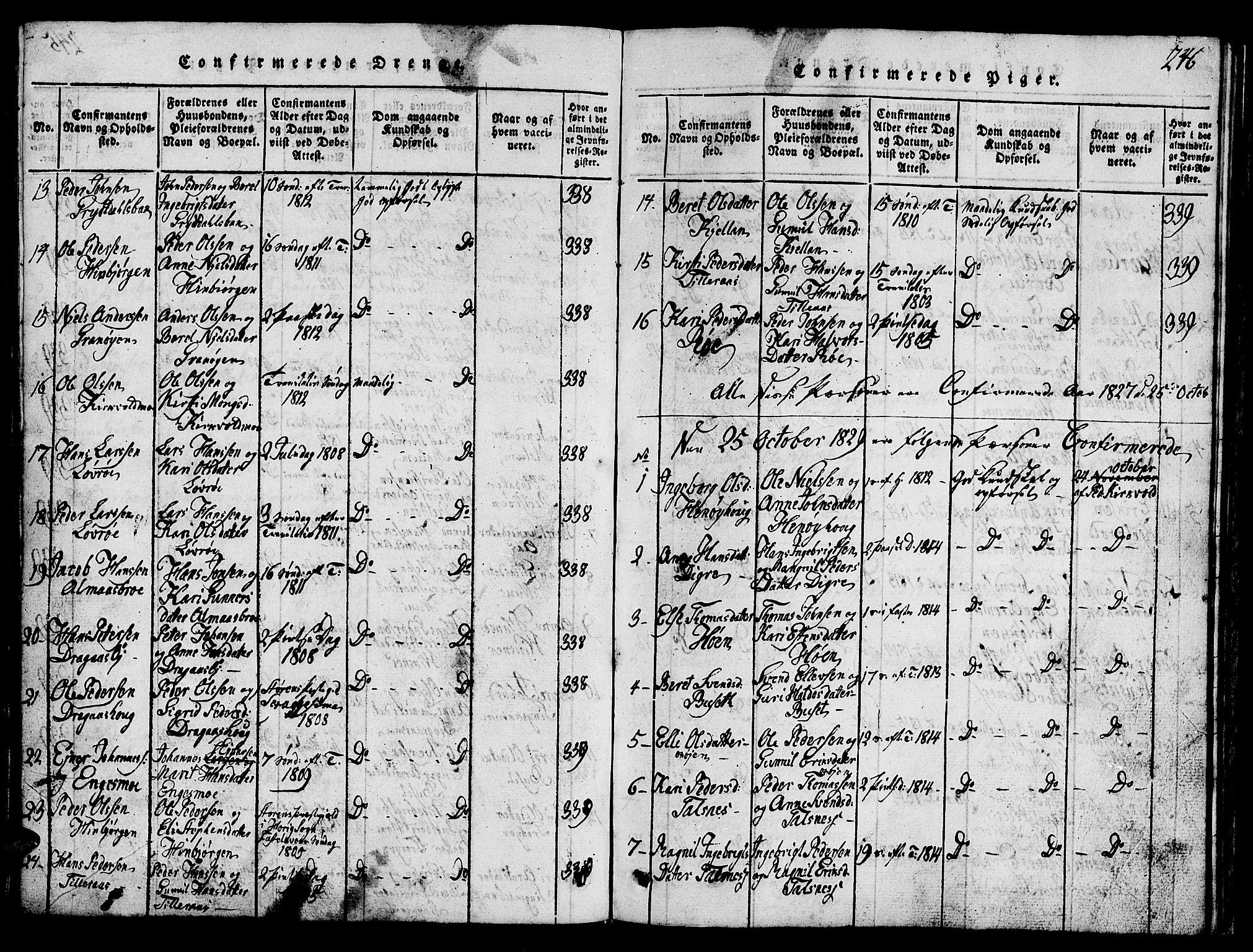 SAT, Ministerialprotokoller, klokkerbøker og fødselsregistre - Sør-Trøndelag, 688/L1026: Klokkerbok nr. 688C01, 1817-1860, s. 246