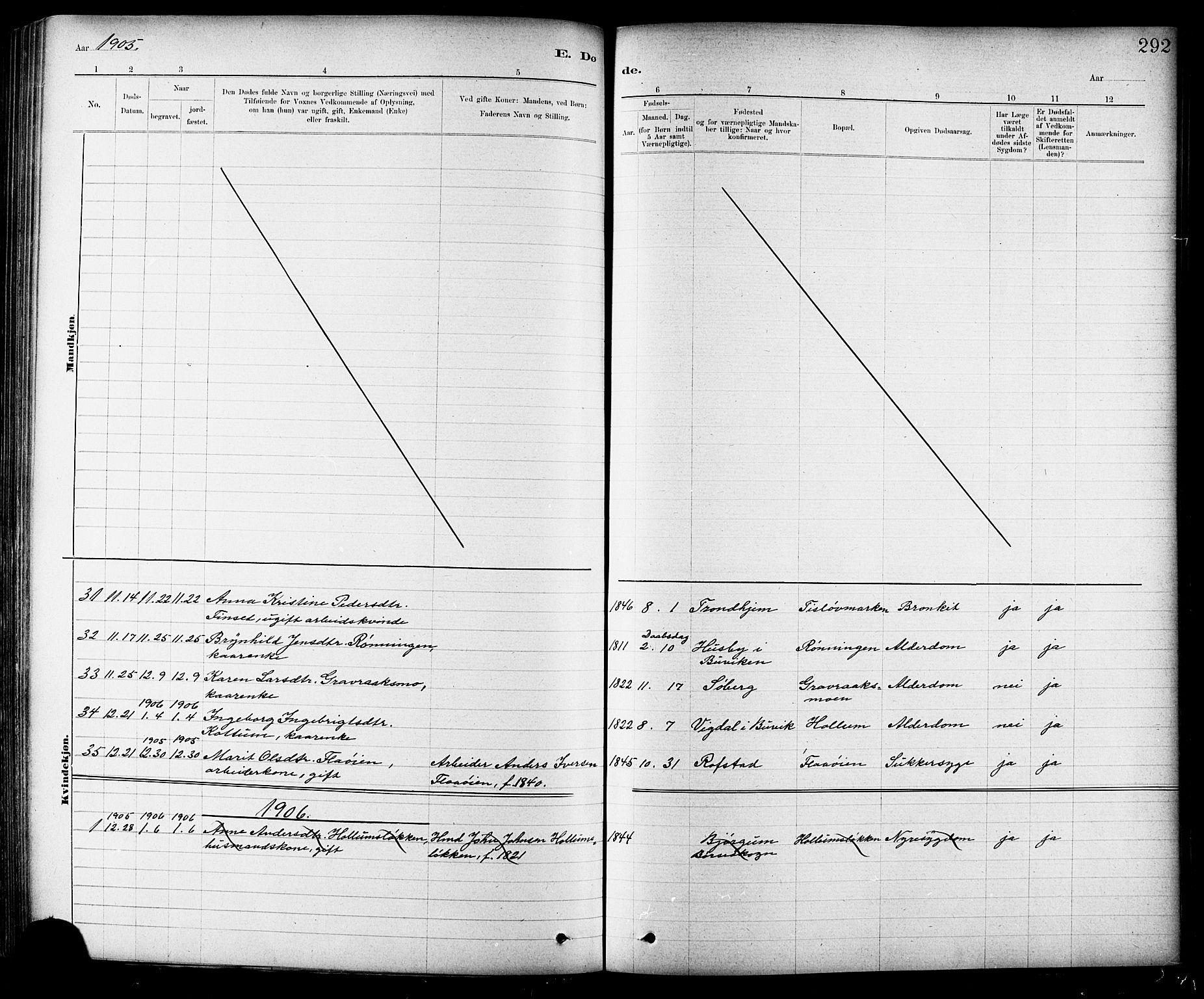 SAT, Ministerialprotokoller, klokkerbøker og fødselsregistre - Sør-Trøndelag, 691/L1094: Klokkerbok nr. 691C05, 1879-1911, s. 292