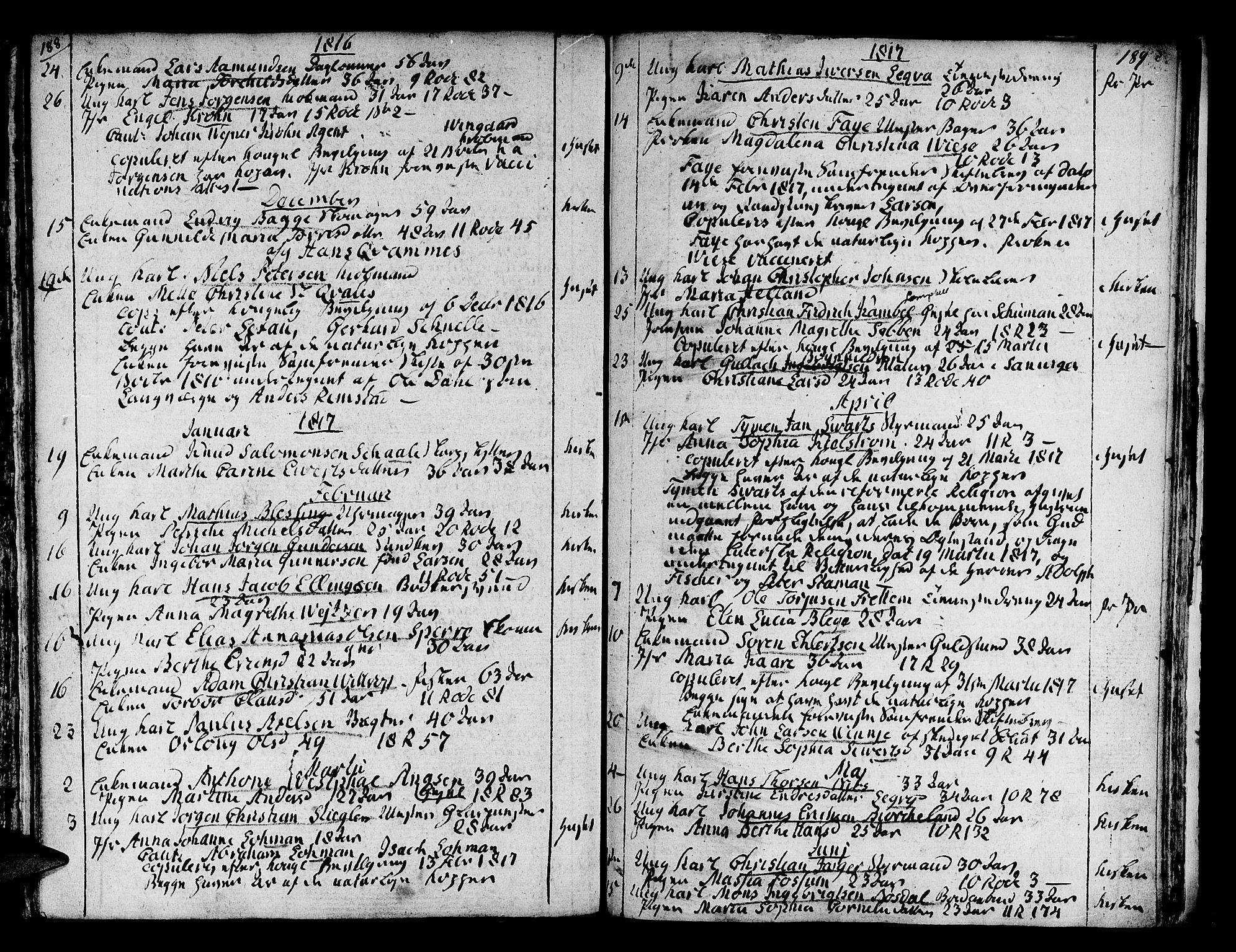 SAB, Domkirken Sokneprestembete, H/Haa/L0007: Ministerialbok nr. A 7, 1725-1826, s. 188-189