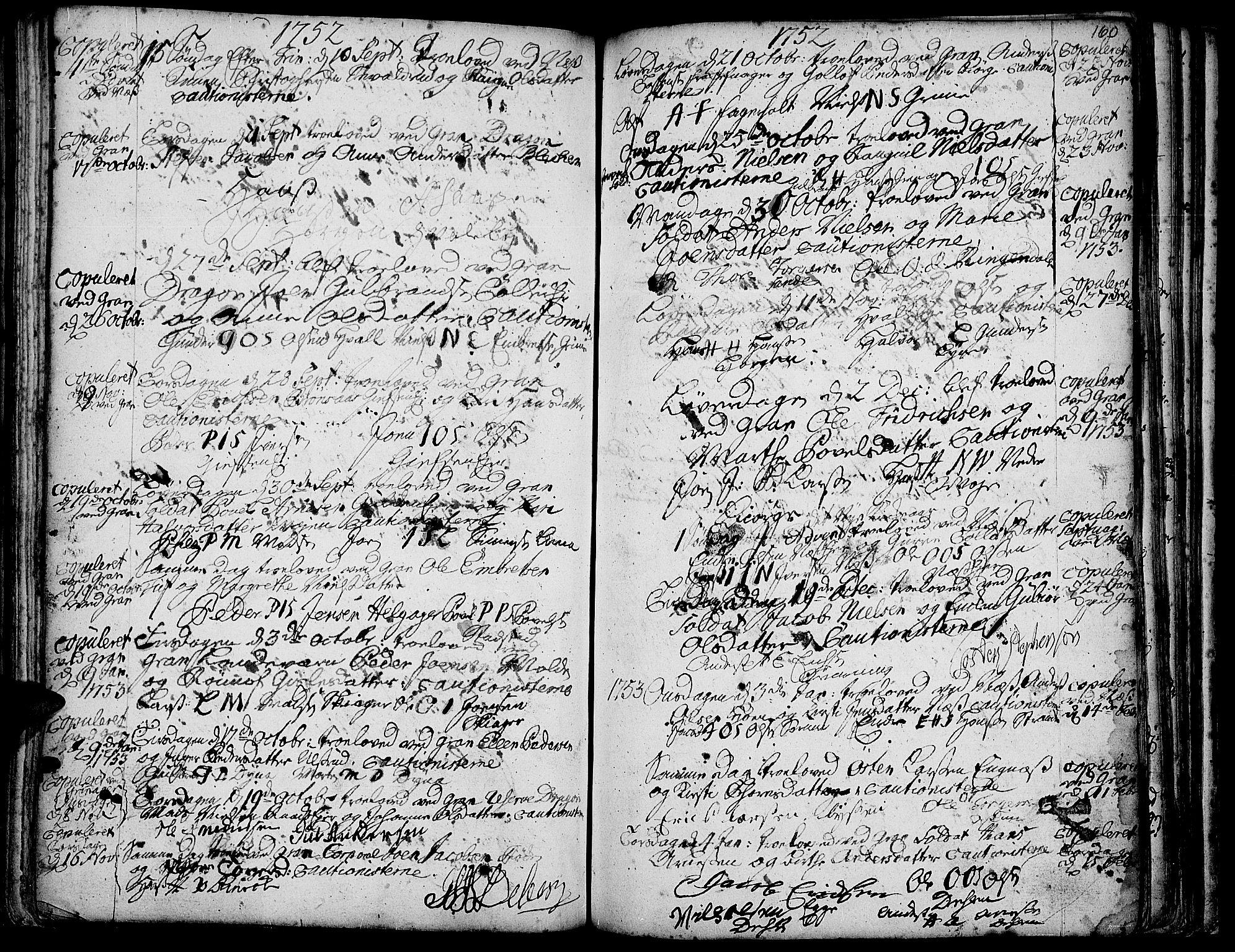 SAH, Gran prestekontor, Ministerialbok nr. 3, 1745-1758, s. 160