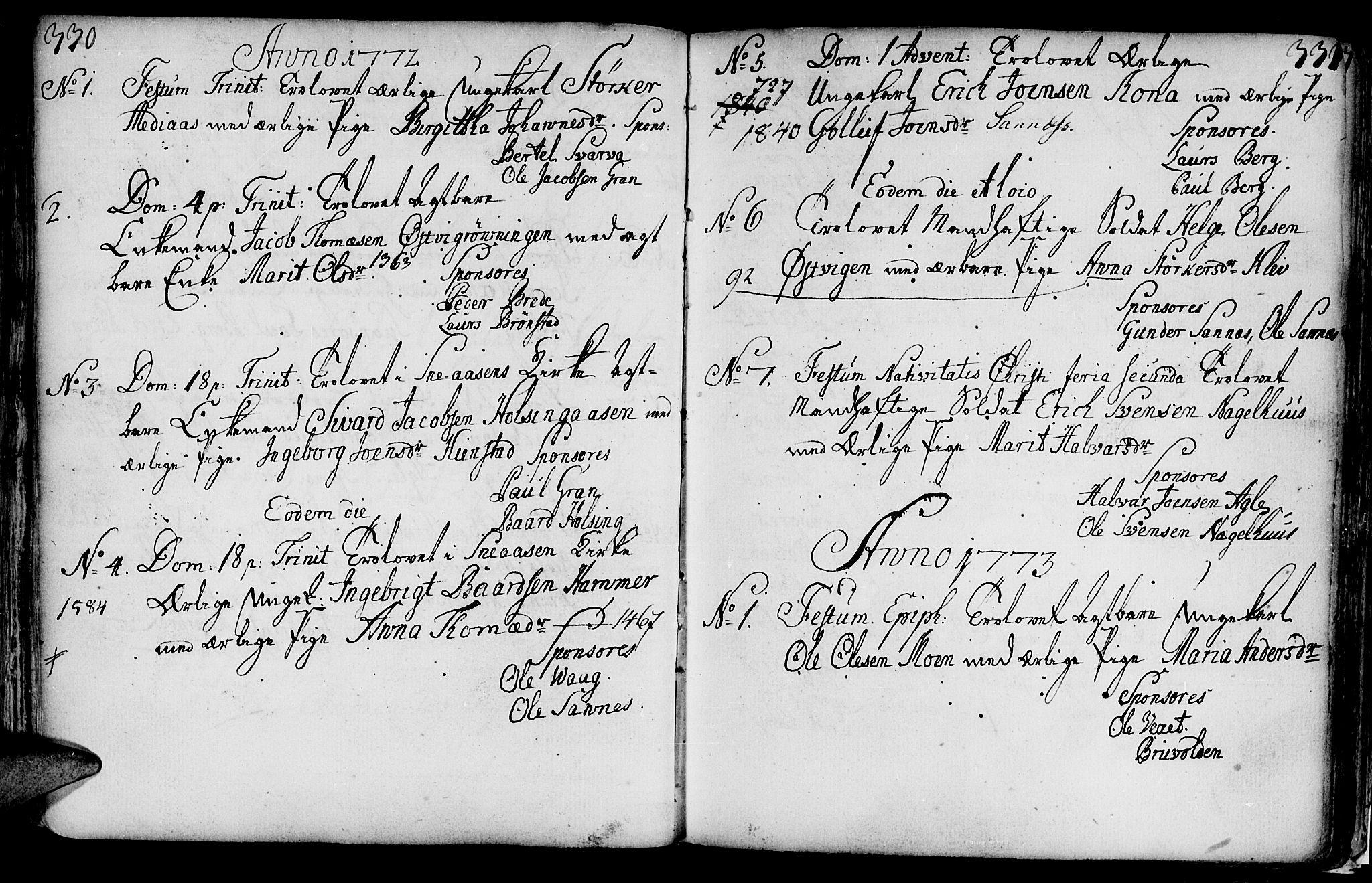 SAT, Ministerialprotokoller, klokkerbøker og fødselsregistre - Nord-Trøndelag, 749/L0467: Ministerialbok nr. 749A01, 1733-1787, s. 330-331