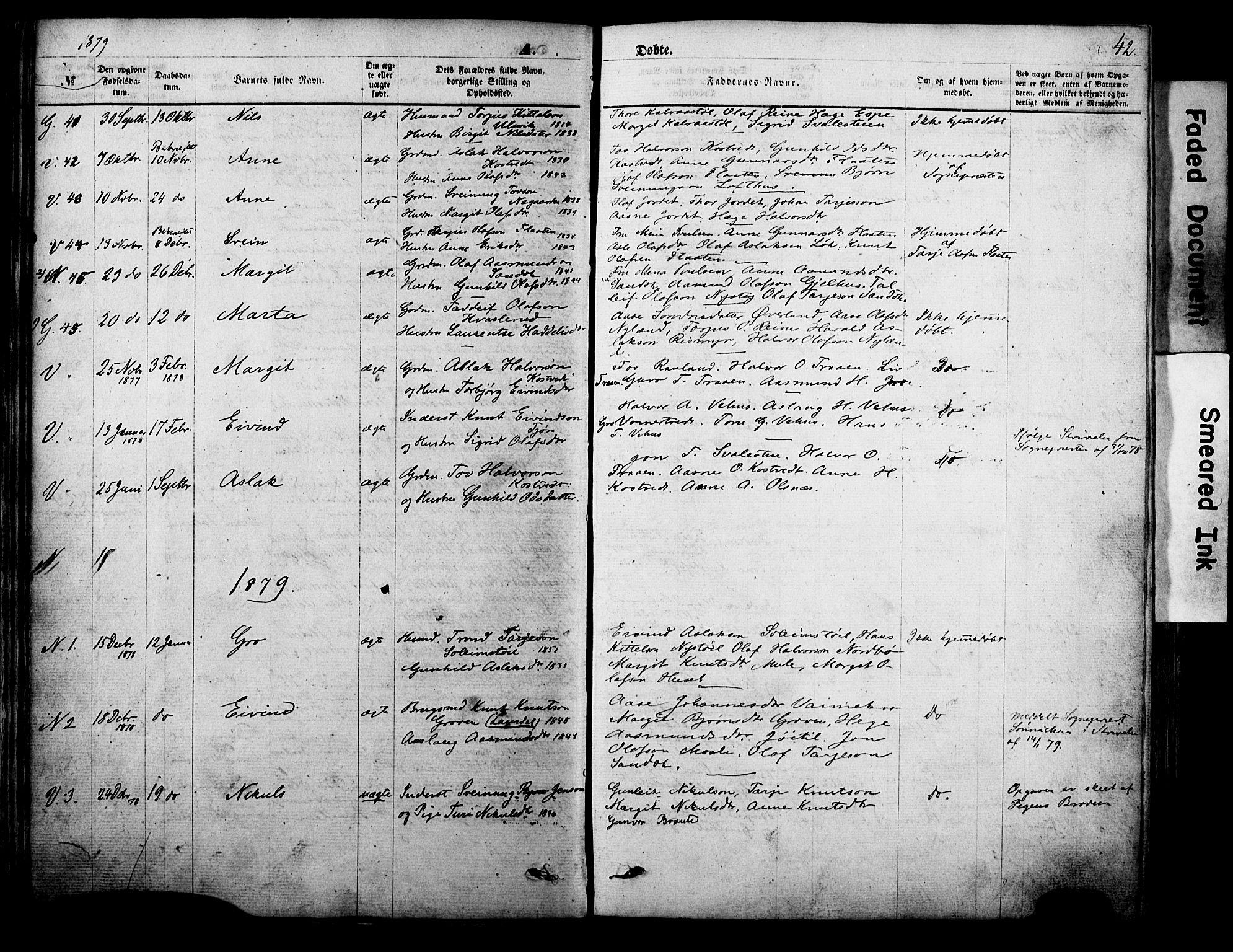 SAKO, Vinje kirkebøker, F/Fa/L0005: Ministerialbok nr. I 5, 1870-1886, s. 42
