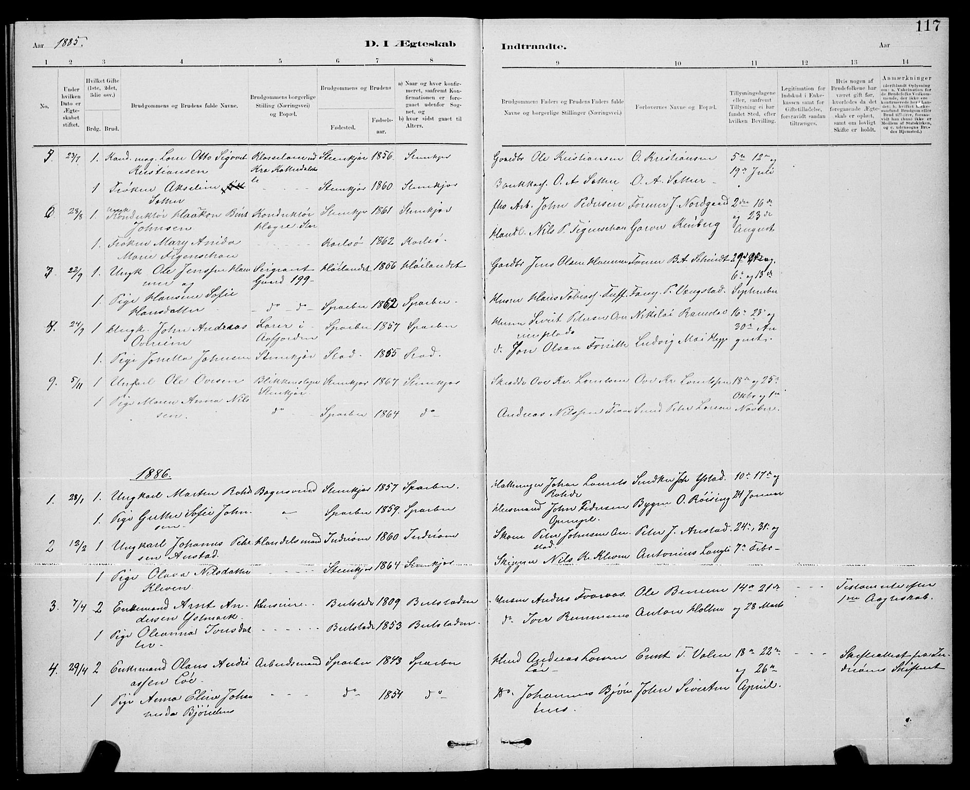 SAT, Ministerialprotokoller, klokkerbøker og fødselsregistre - Nord-Trøndelag, 739/L0374: Klokkerbok nr. 739C02, 1883-1898, s. 117