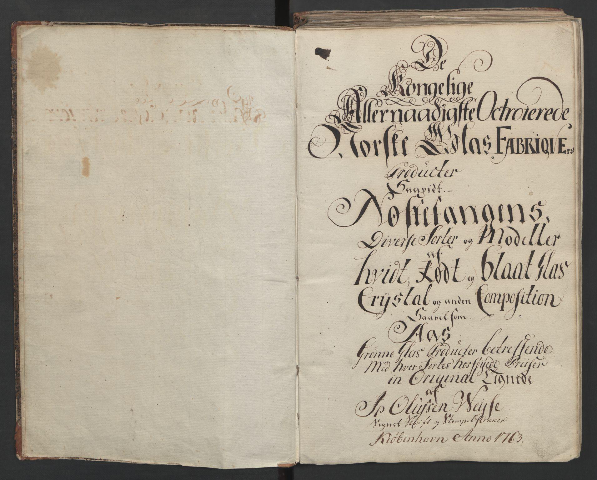 RA, Glassverk, samlinger, F/Fa/L0036: Modellbok for Nøstetangens og Aas' produkter med prisangivelse,, 1763, s. 1