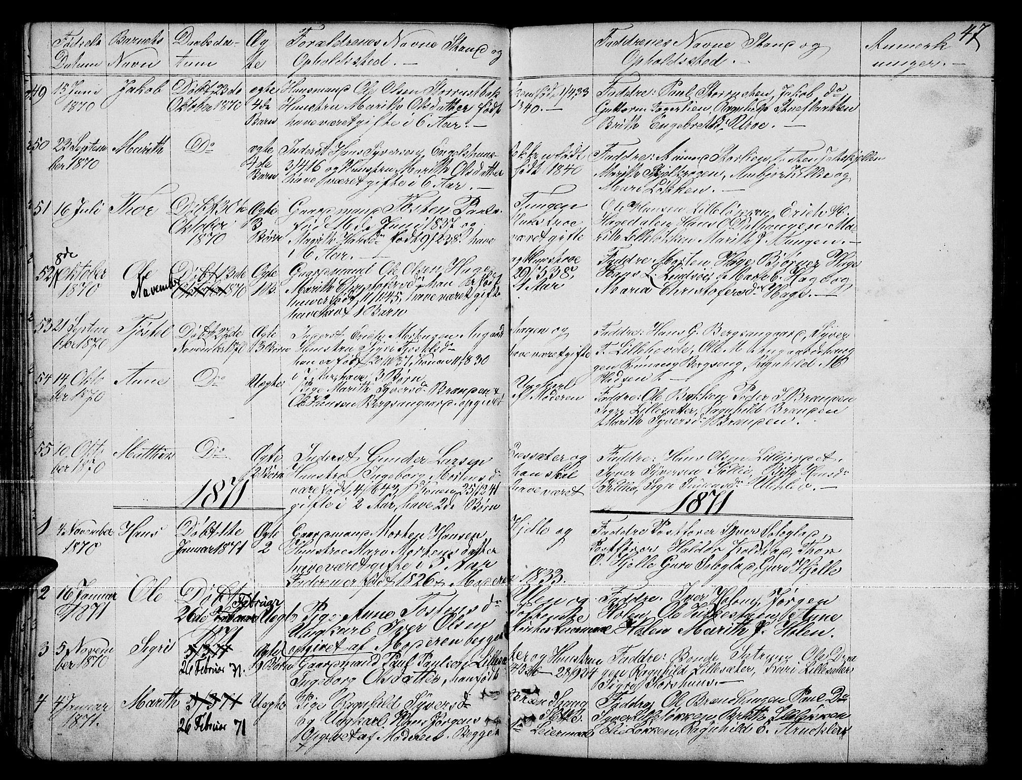 SAH, Dovre prestekontor, Klokkerbok nr. 1, 1862-1880, s. 47