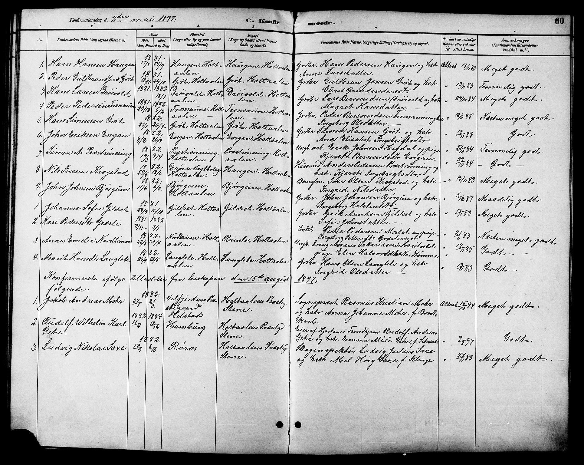 SAT, Ministerialprotokoller, klokkerbøker og fødselsregistre - Sør-Trøndelag, 685/L0978: Klokkerbok nr. 685C03, 1891-1907, s. 60